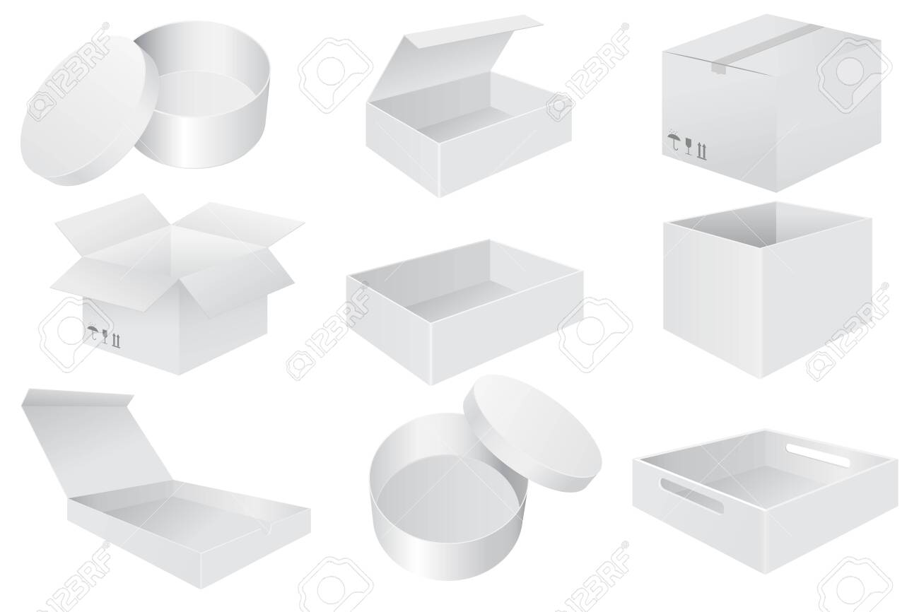 White paper boxes. Set od 3d objects. Vector illustration isolated on white background - 124572007