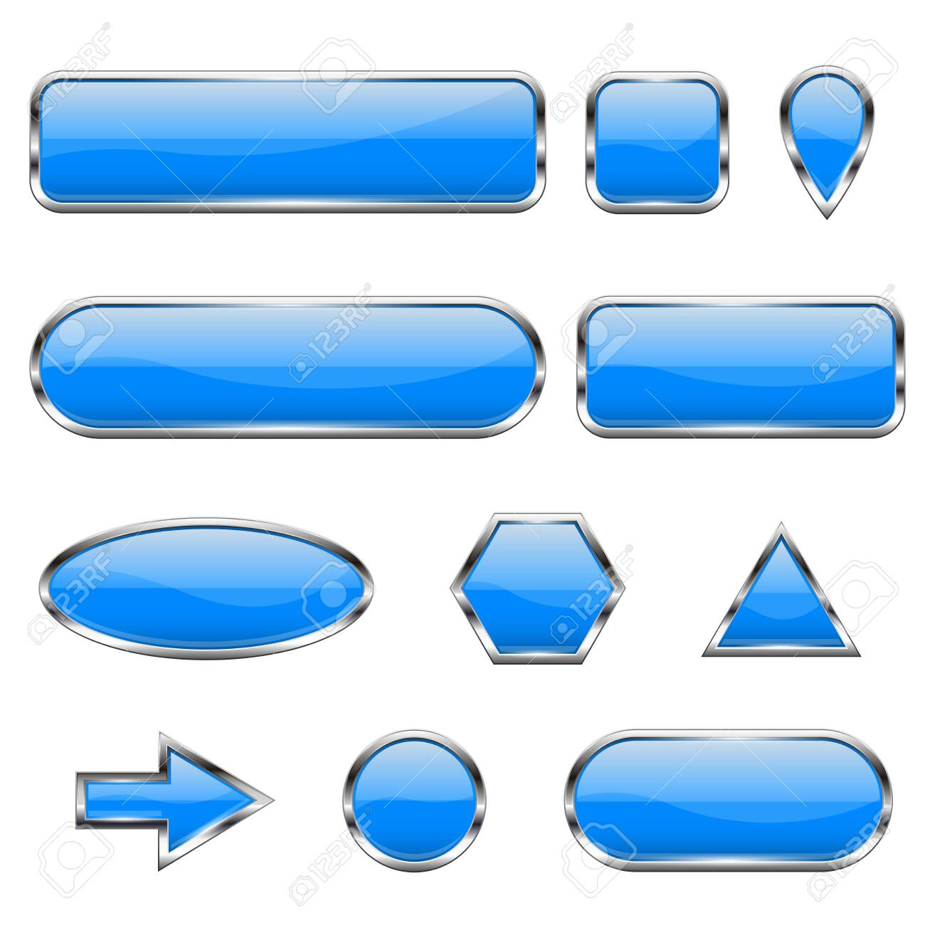 Blue 3d icons. Glass shiny buttons - 130359044