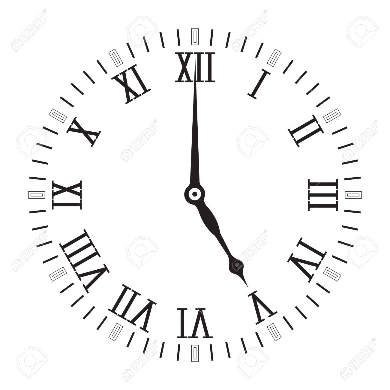 Clock scale with roman numerals. Five o'clock. Vector illustration isolated on white background - 133632066