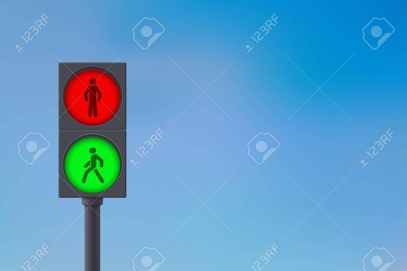 Pedestrian Traffic Light. Sky background. - 134587284