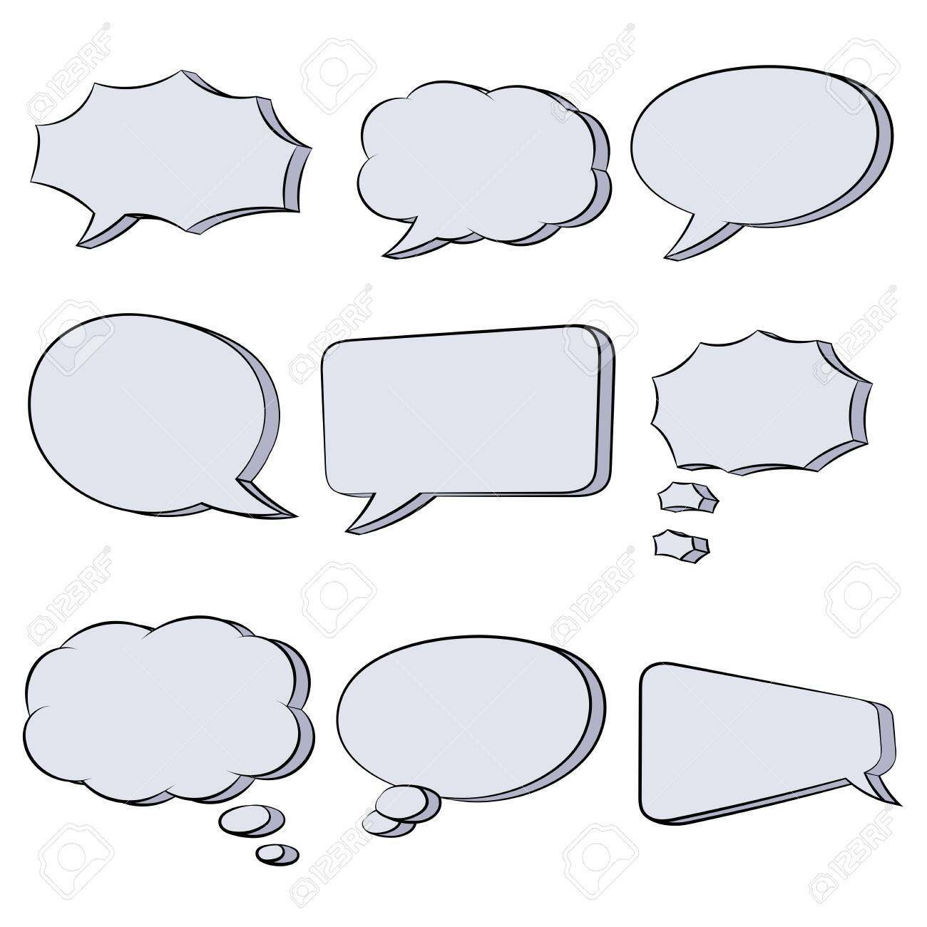 Speech bubbles. Hand drawn sketch. Vector illustration isolated on white background - 134550995