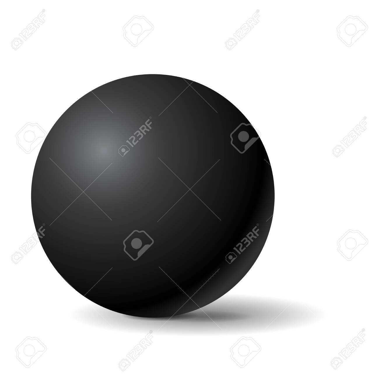 Black sphere. 3d geometric shape. Vector illustration isolated on white background - 141047749
