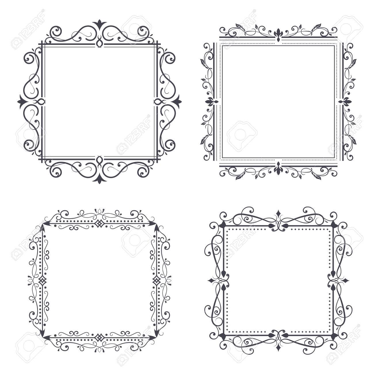 Vintage ornamental frames. Vector illustration isolated on white background - 141053472