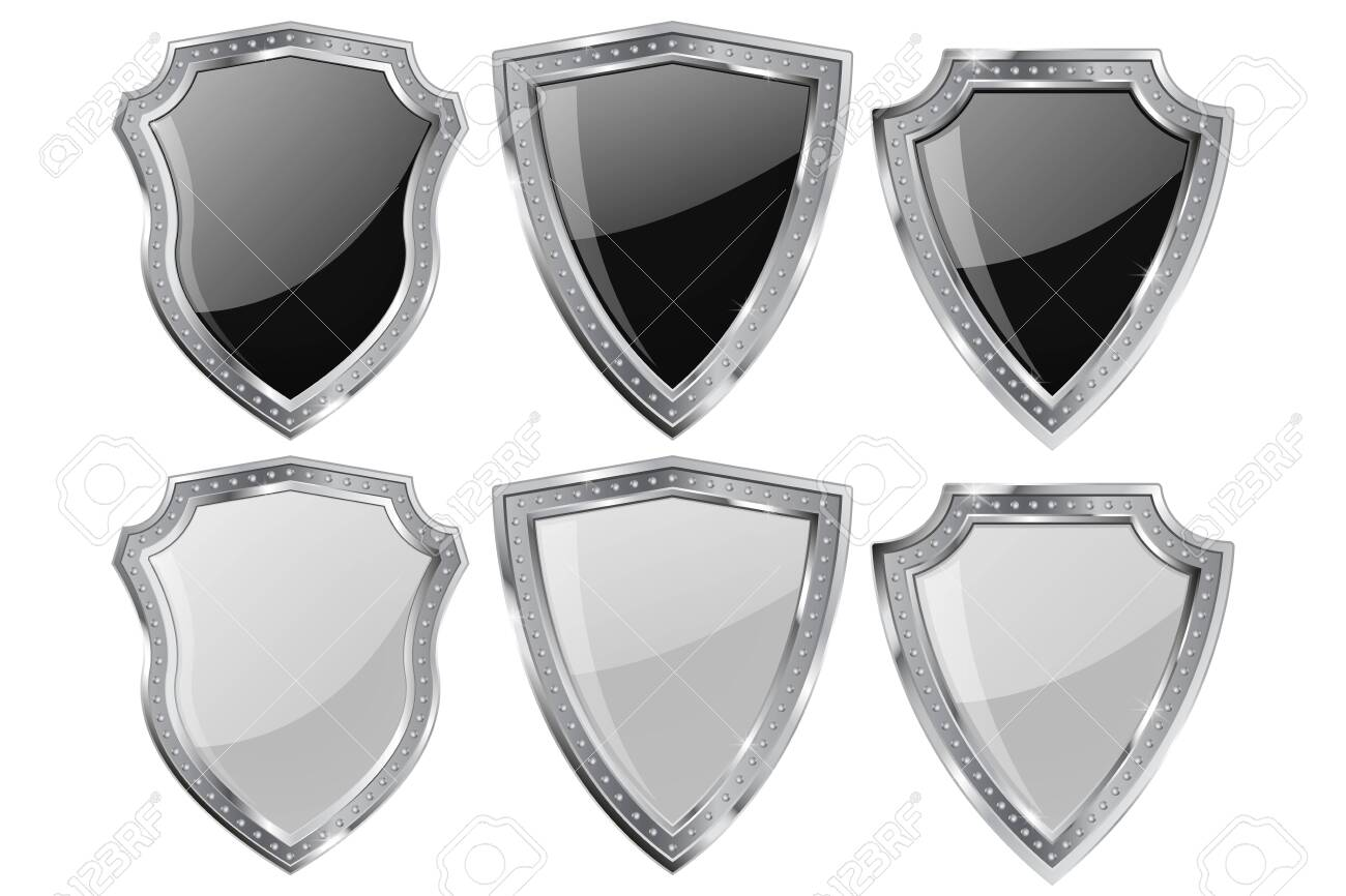 Metal Shield. Set white and black shiny plate - 141096829