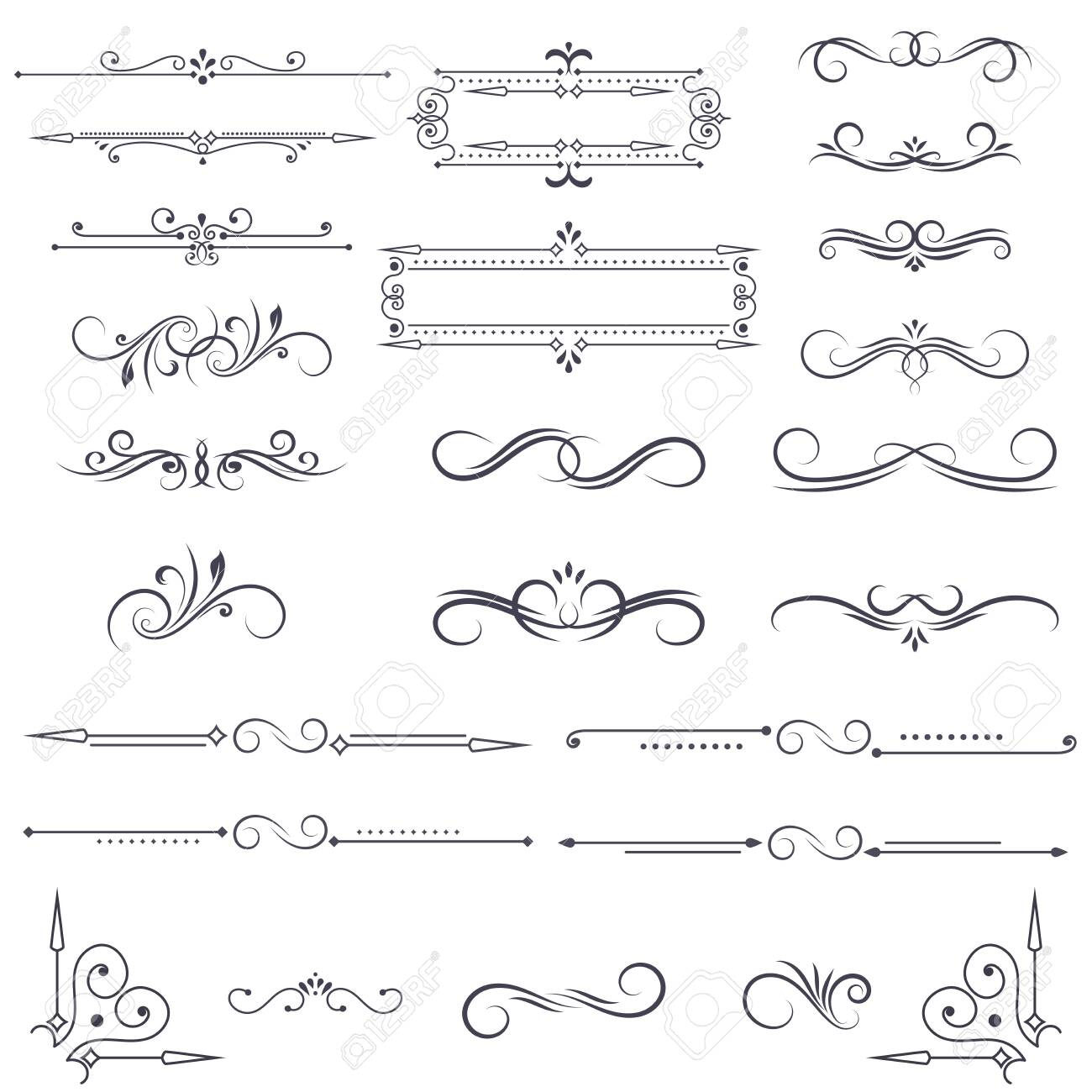 Vintage ornamental dividers and frames. Black floral decorations isolated on white background. Vector illustration - 143325709