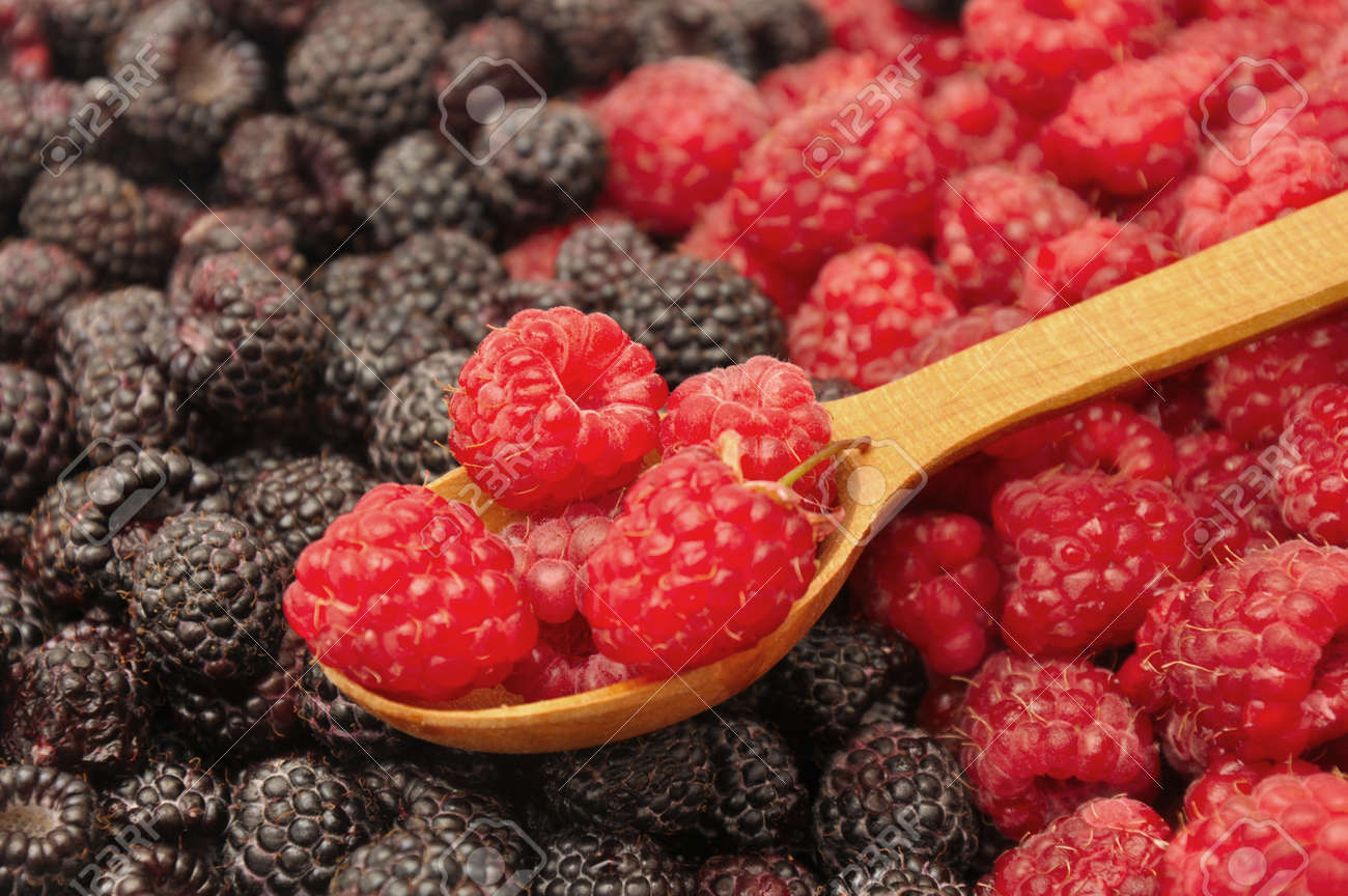 Blackberry and raspberry with wooden spoon. Berries background - 150233101