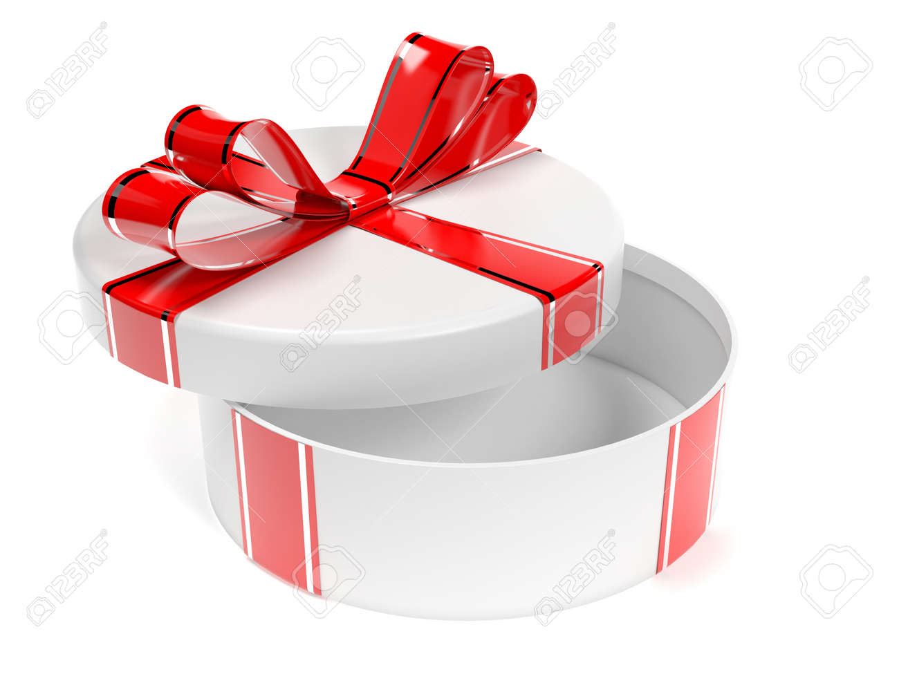Round gift box. 3d rendering illustration isolated on white background - 150185924