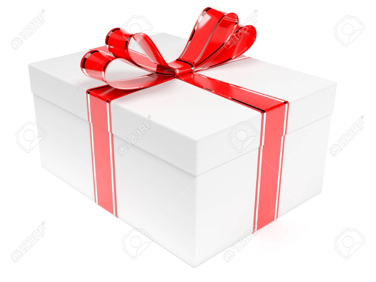 Gift box decorated with shiny red ribbon. 3d rendering illustration isolated on white background - 150233112
