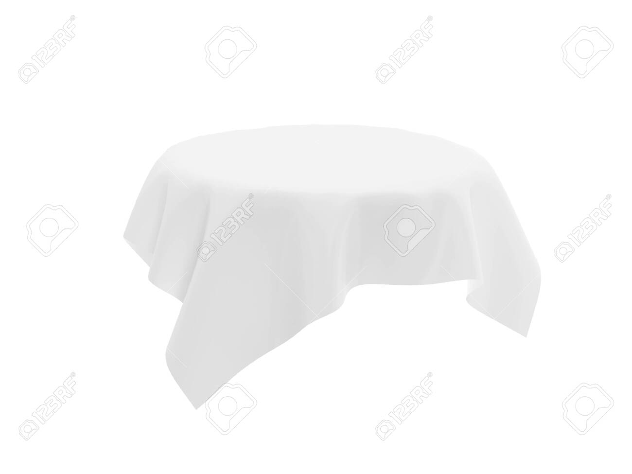 White tablecloth on invisible round table. 3d rendering illustration isolated on white background - 150186338