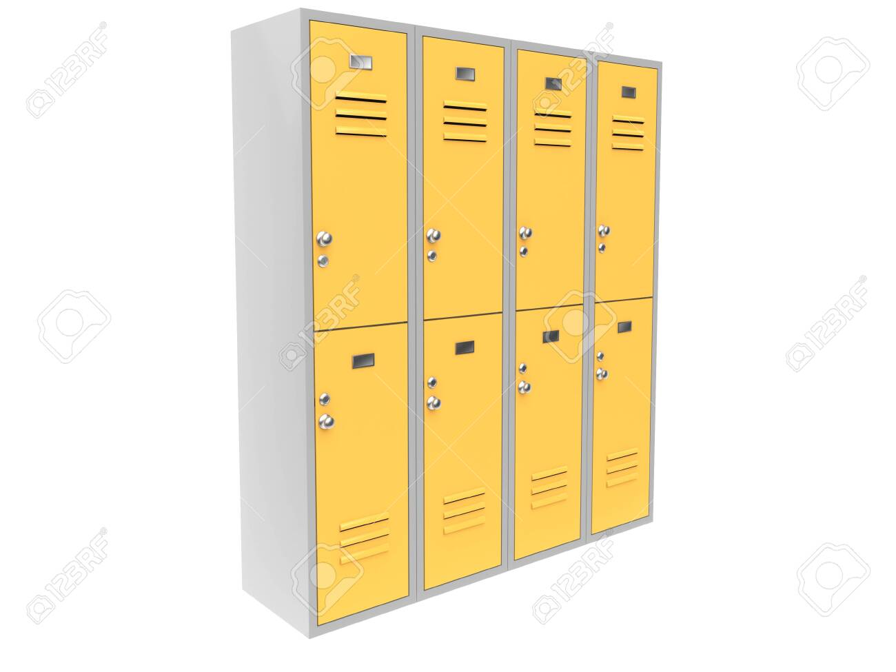 Row of yellow two level gym lockers. 3d rendering illustration isolated on white background - 150186355