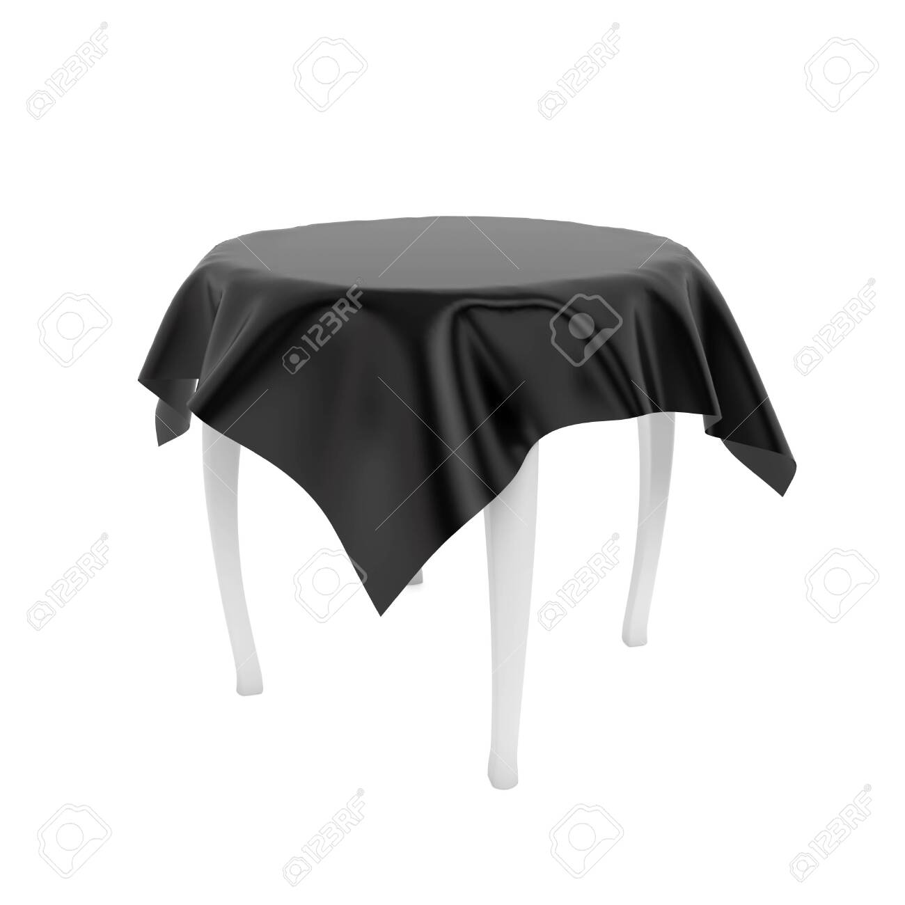 White round table with black tablecloth. 3d rendering illustration isolated on white background - 150186374