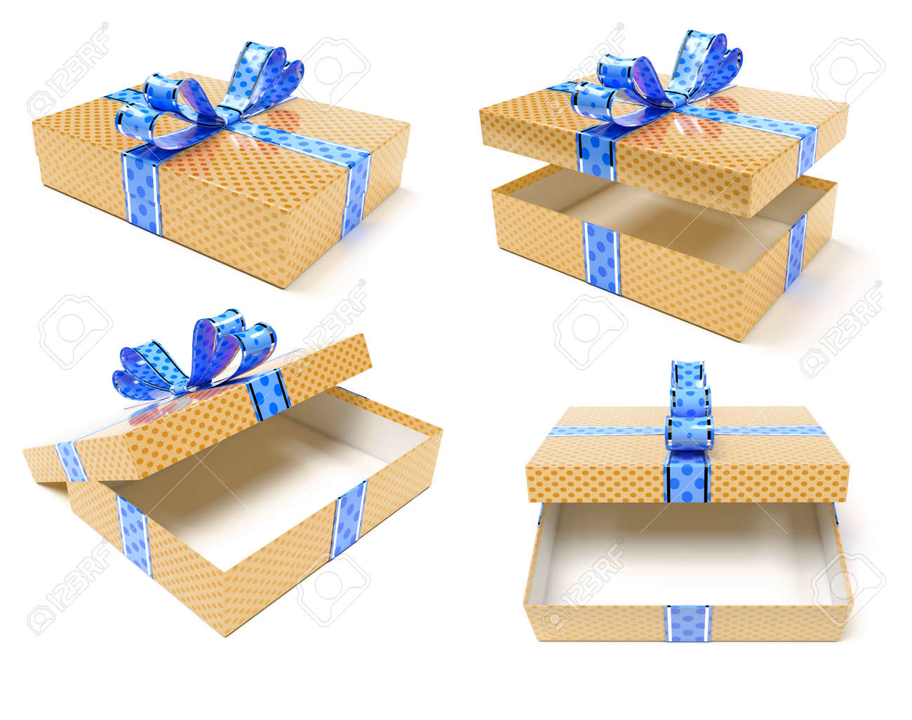 Gift boxes. Brown box with blue bow. 3d rendering illustration isolated on white background - 150233113