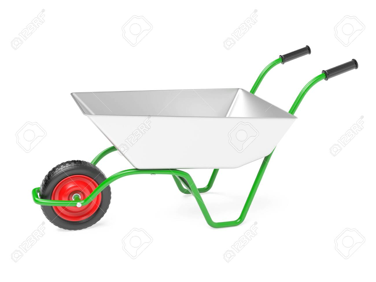 Metal garden barrow. 3d rendering illustration isolated on white background - 150190630
