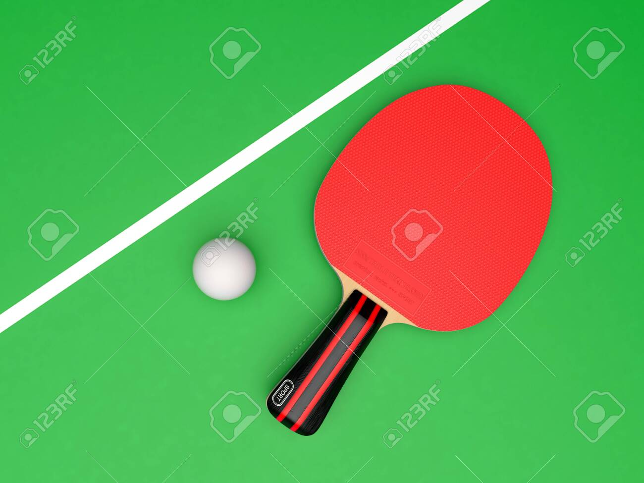 Red table tennis racket with ball. On green background. 3d rendering illustration - 150284160