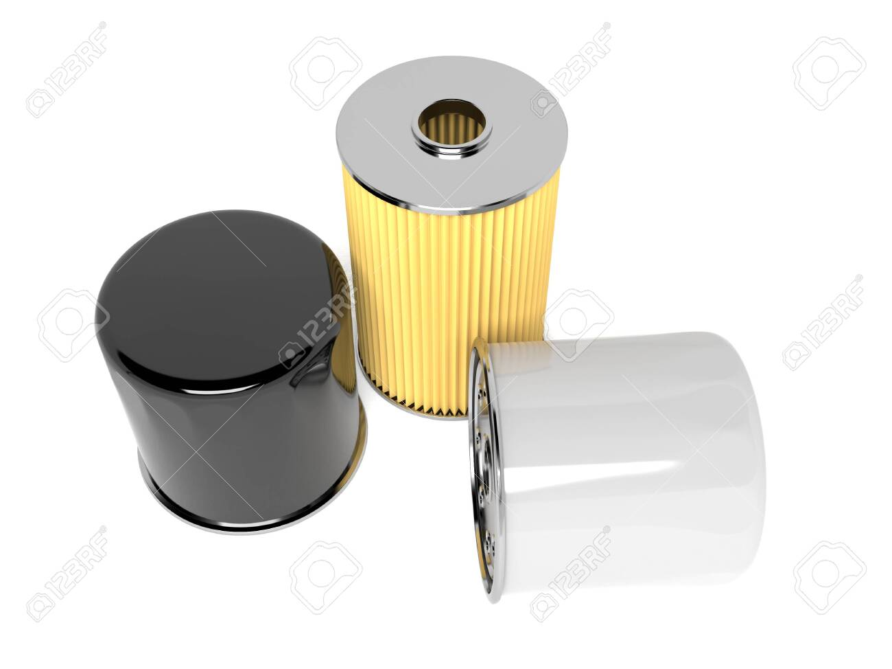Oil filters. Car spare parts. 3d rendering illustration isolated on white background - 150186541