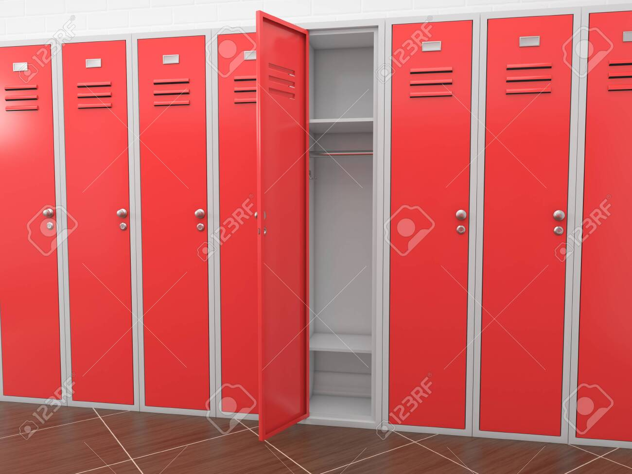 Red gym lockers in a room. 3d rendering illustration - 150191028
