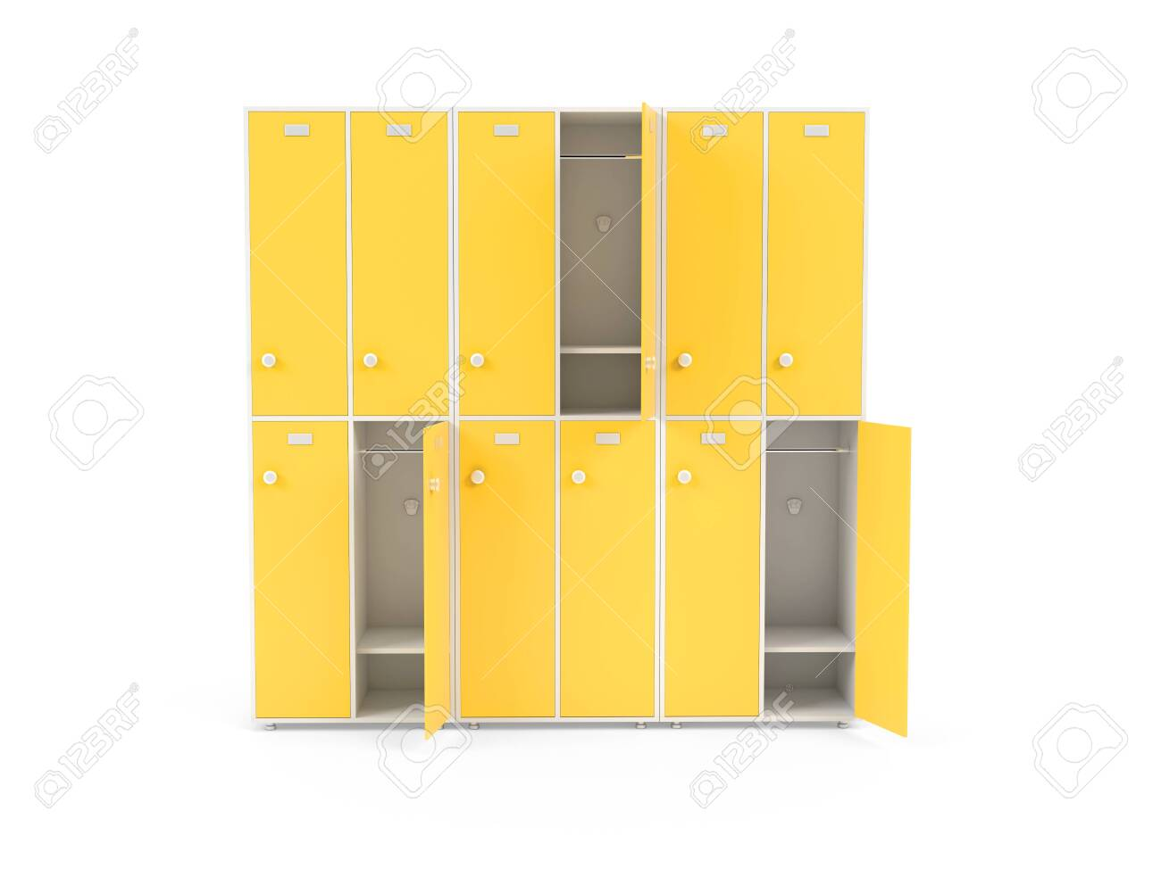 Yellow lockers. Two row section of lockers for schoool or gym. 3d rendering illustration isolated on white background - 150186212