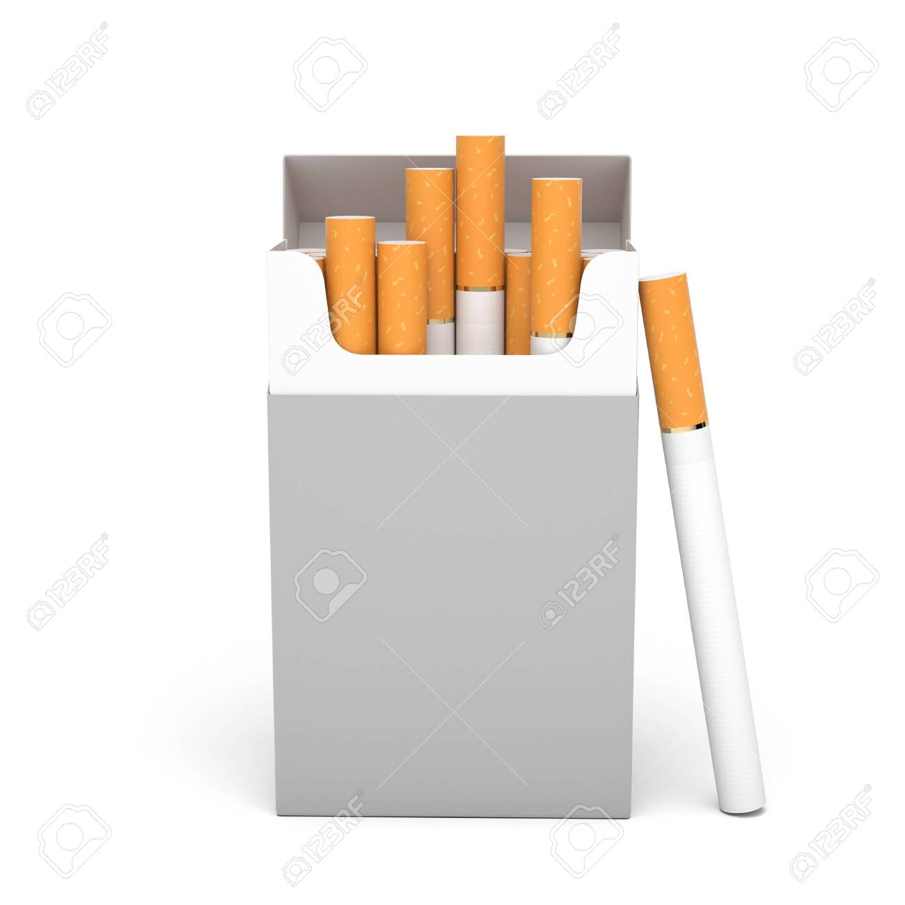 Blank pack of cigarettes. 3d rendering illustration isolated on white background - 150185976