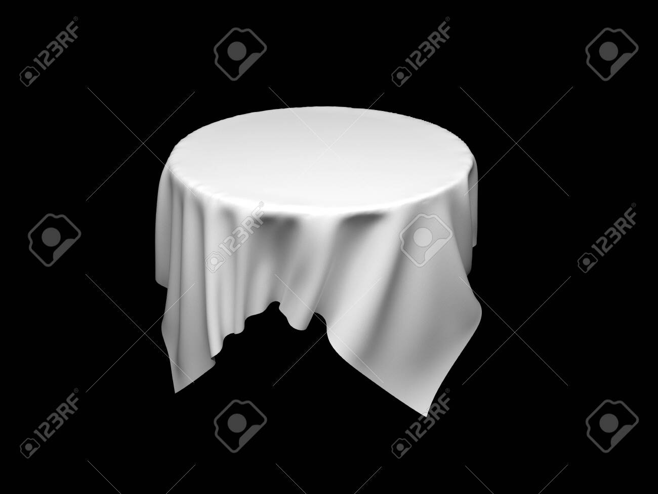 White tablecloth on invisible round table. On black background. 3d rendering illustration - 150233118