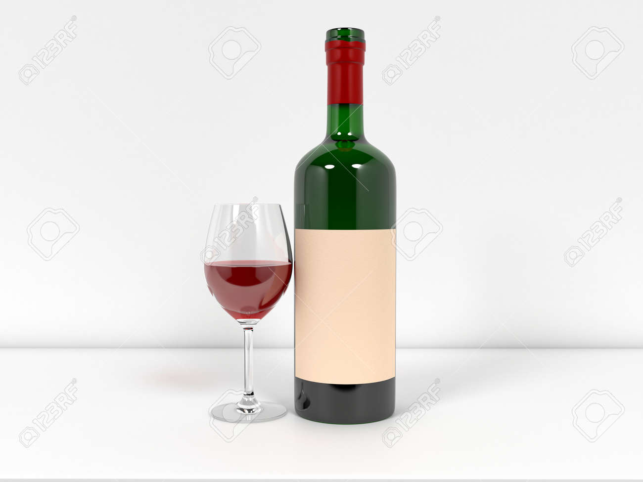 Bottle of wine with glass on white background. 3d rendering illustration. - 150186610