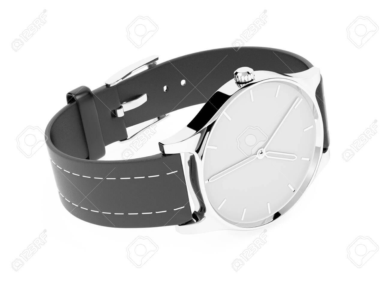 Men watch. Classic model with black band. 3d rendering illustration isolated on white background - 150191402