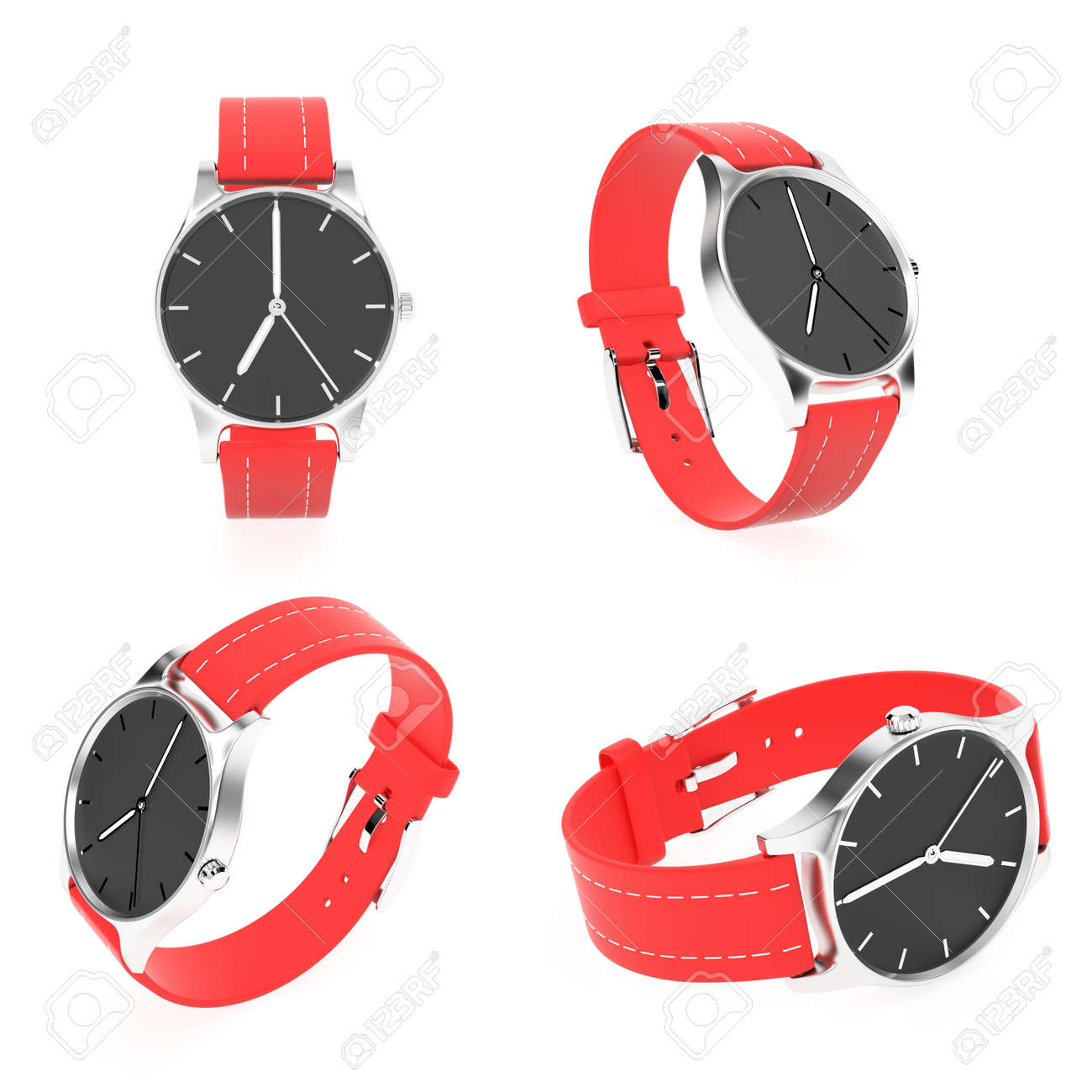 Wrist watch set. Black dial with steel case and red leather bracelet. 3d rendering illustration isolated on white background - 150191809