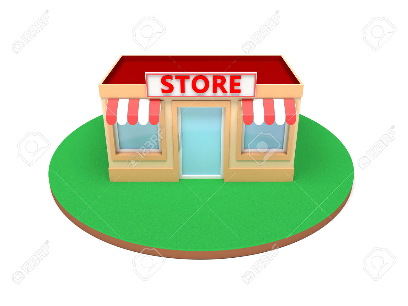 Store building. Colored 3d illustration isolated on white background - 150191160