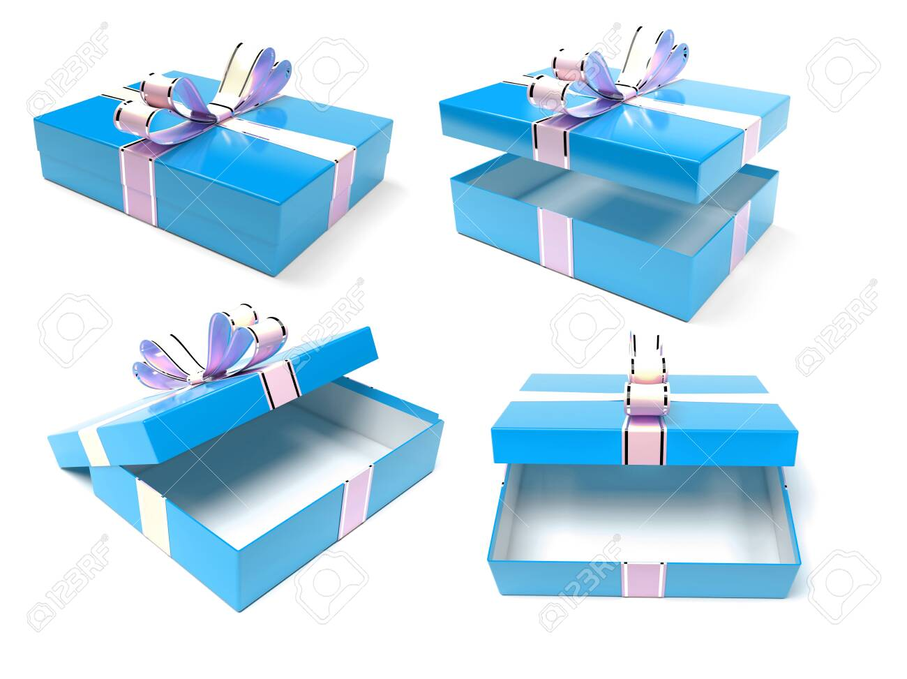 Gift boxes. Blue box with a bow. 3d rendering illustration isolated on white background - 150520813