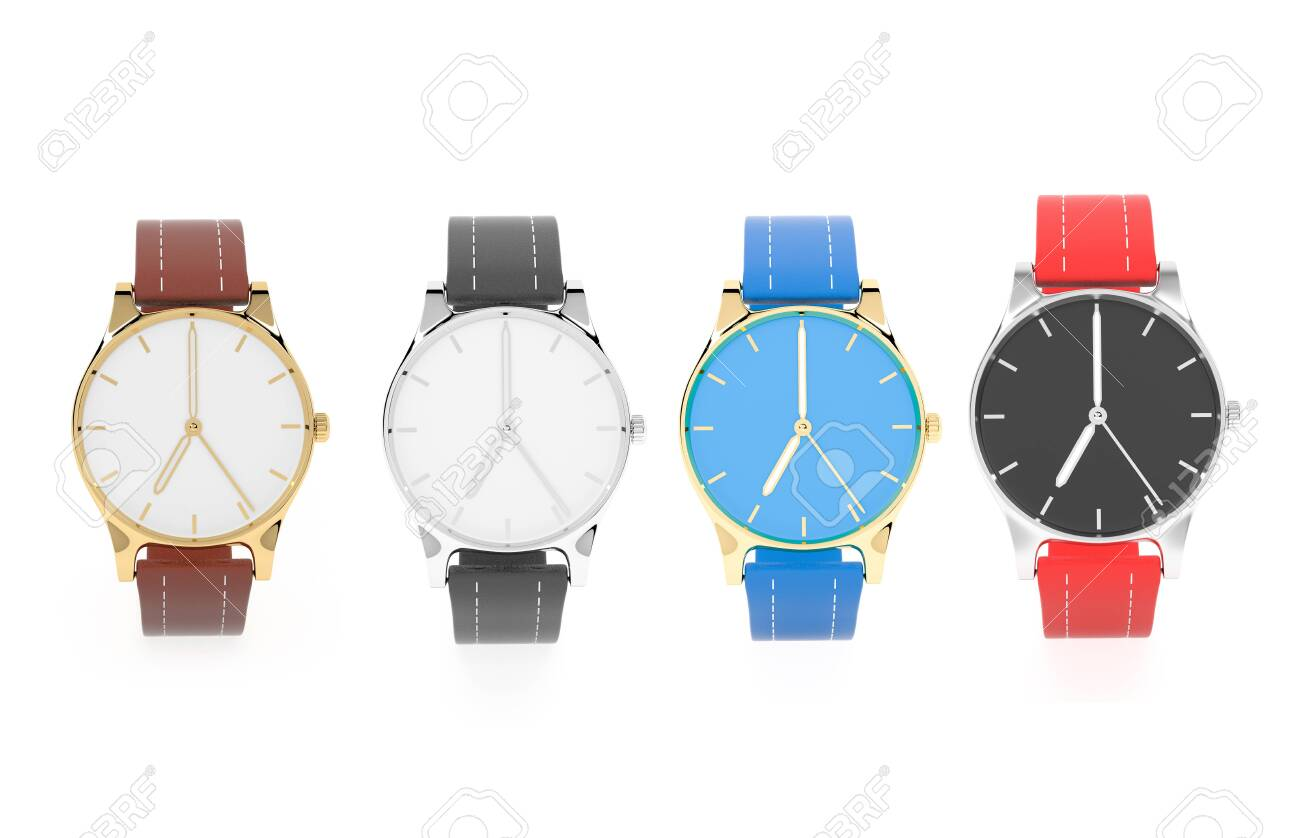 Modern watch. Colored set. 3d rendering illustration isolated on white background - 150520878