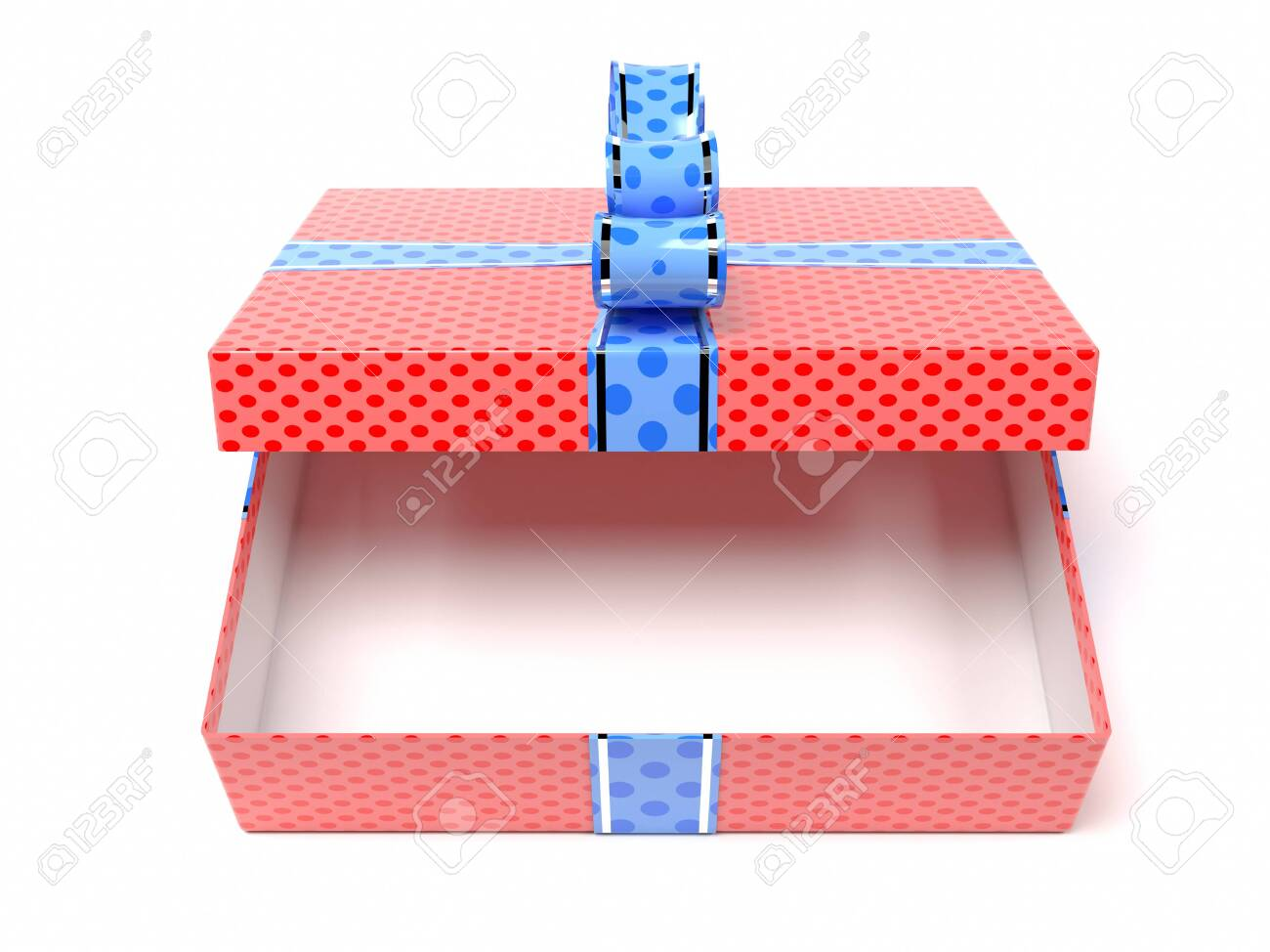 Red gift box with blue duct tape. 3d rendering illustration isolated on white background - 150520885