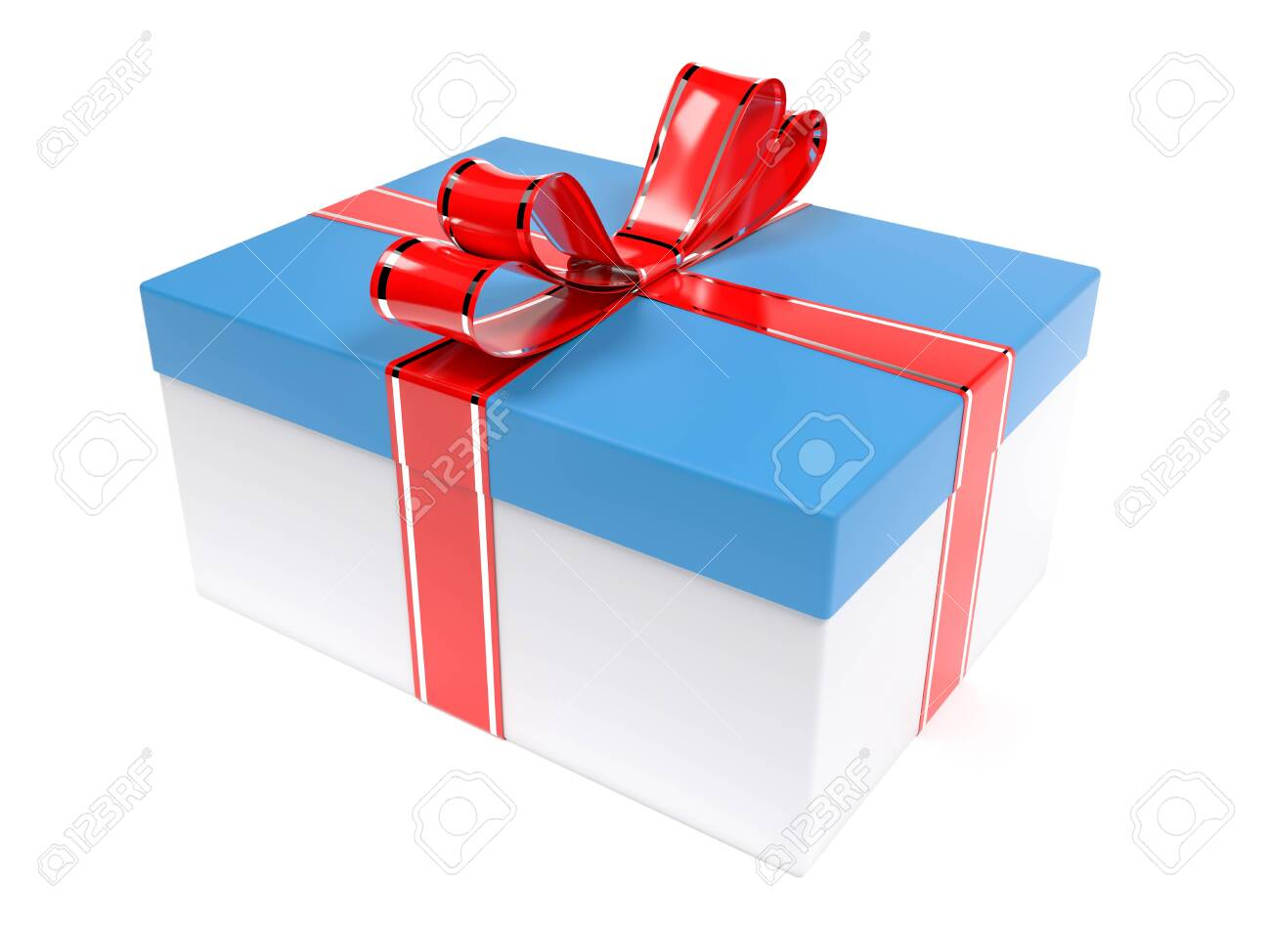Christmas gift. Blue box with red ribbon bow. 3d rendering illustration isolated on white background - 150520886