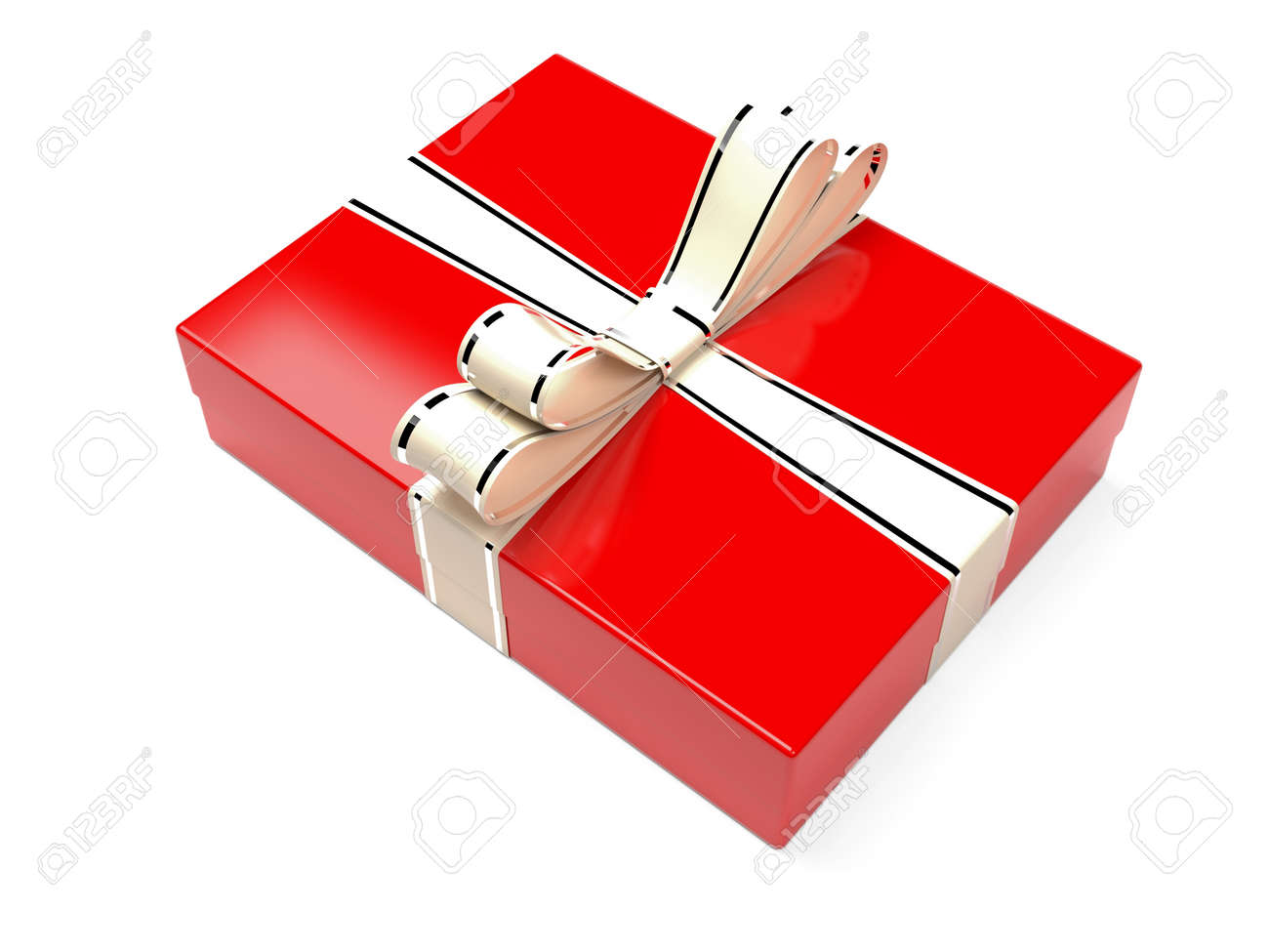 Christmas box. Red gift box decorated with shiny silver ribbon. 3d rendering illustration isolated on white background - 150520905