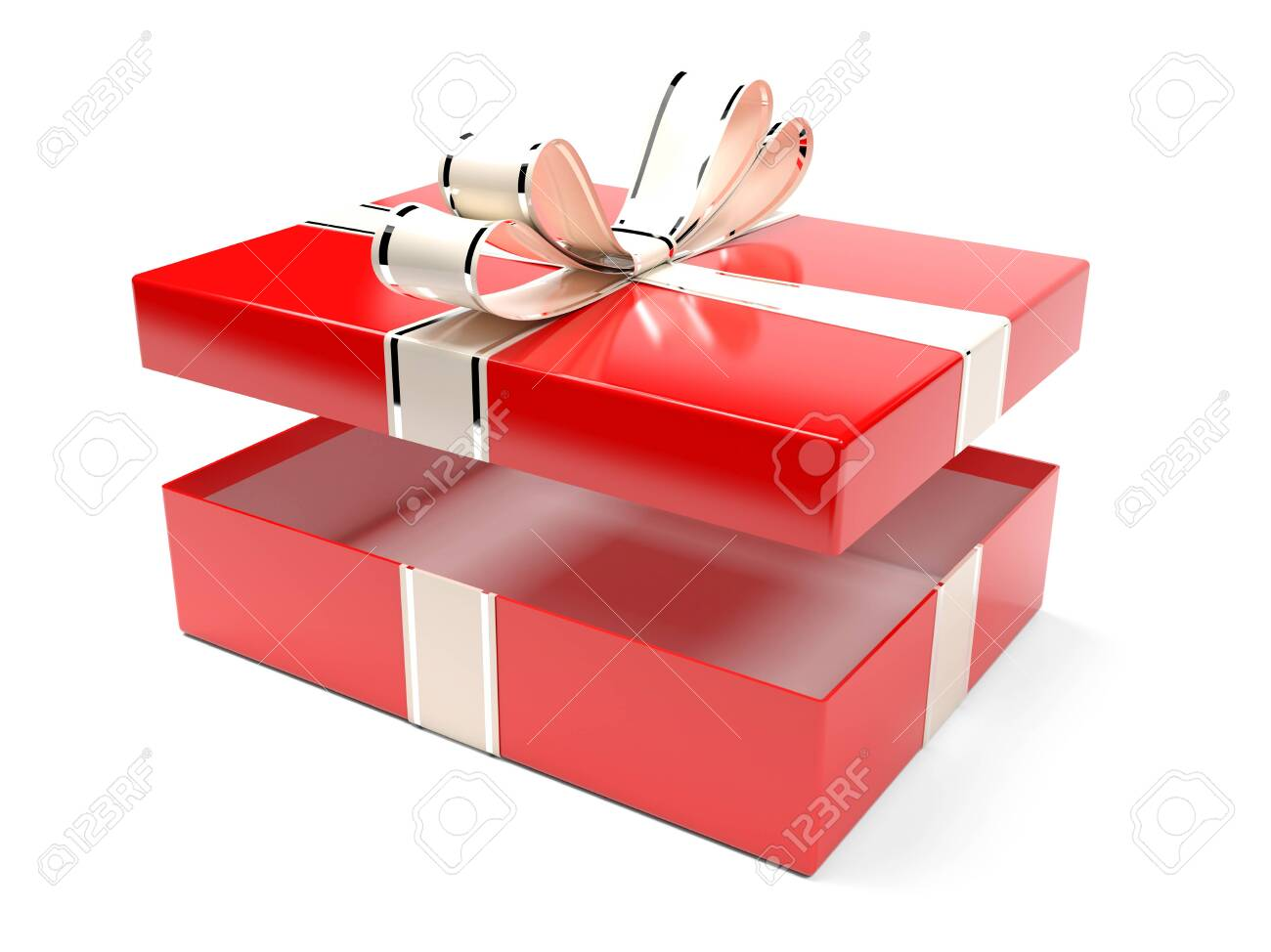 Christmas box. Gift box decorated with shiny silver ribbon. 3d rendering illustration isolated on white background - 150520909