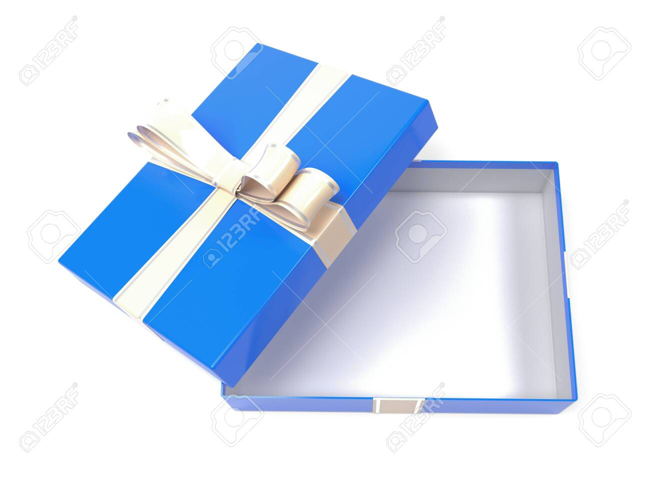 Gift box. Blue empty box with a bow. 3d rendering illustration isolated on white background - 150520964
