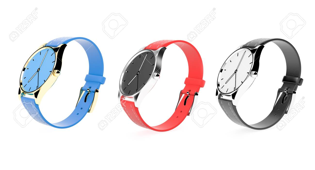 Modern watch. Colored set. 3d rendering illustration isolated on white background - 150520980