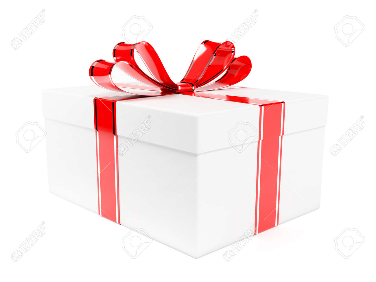 Gift box decorated with shiny red ribbon. 3d rendering illustration isolated on white background - 150521000