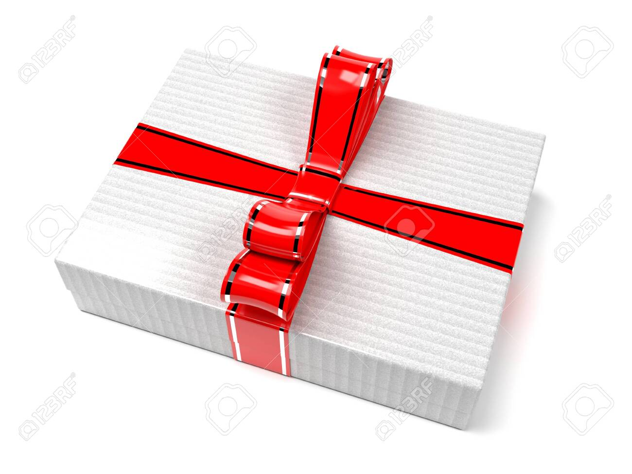 Gift box decorated with shiny red ribbon. 3d rendering illustration isolated on white background - 150521033