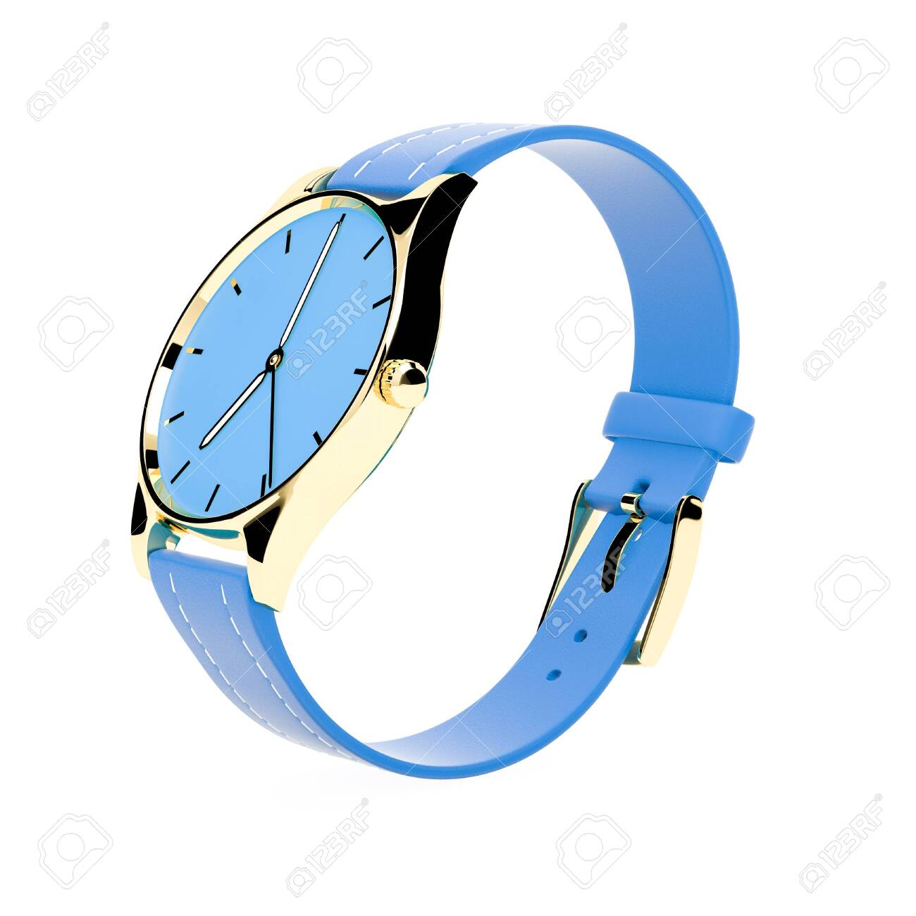 Wrist watch. Blue dial with golden case and blue leather bracelet. 3d rendering illustration isolated on white background - 150521065