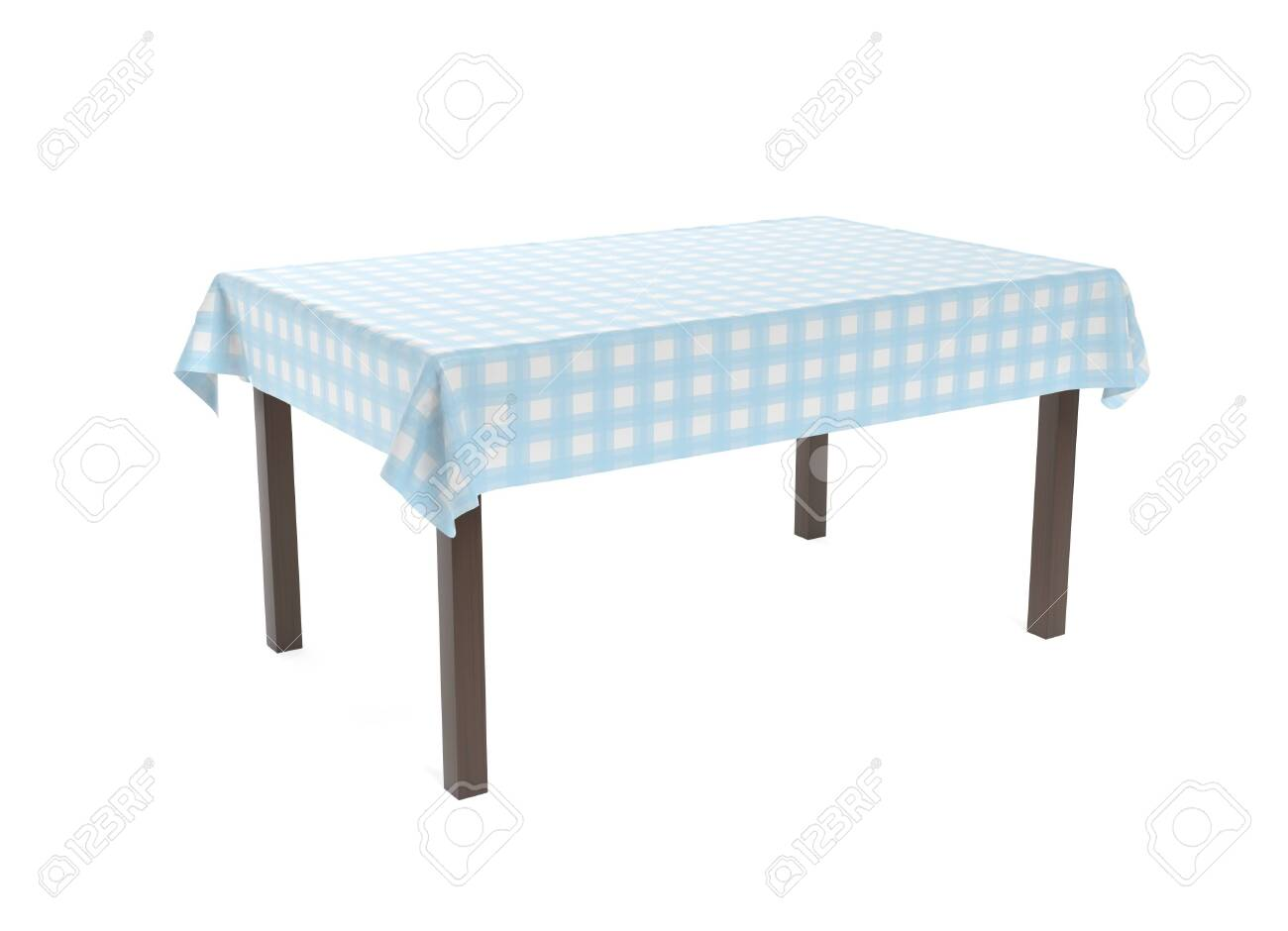 Table with blue tablecloth. 3d rendering illustration isolated on white background - 150521126