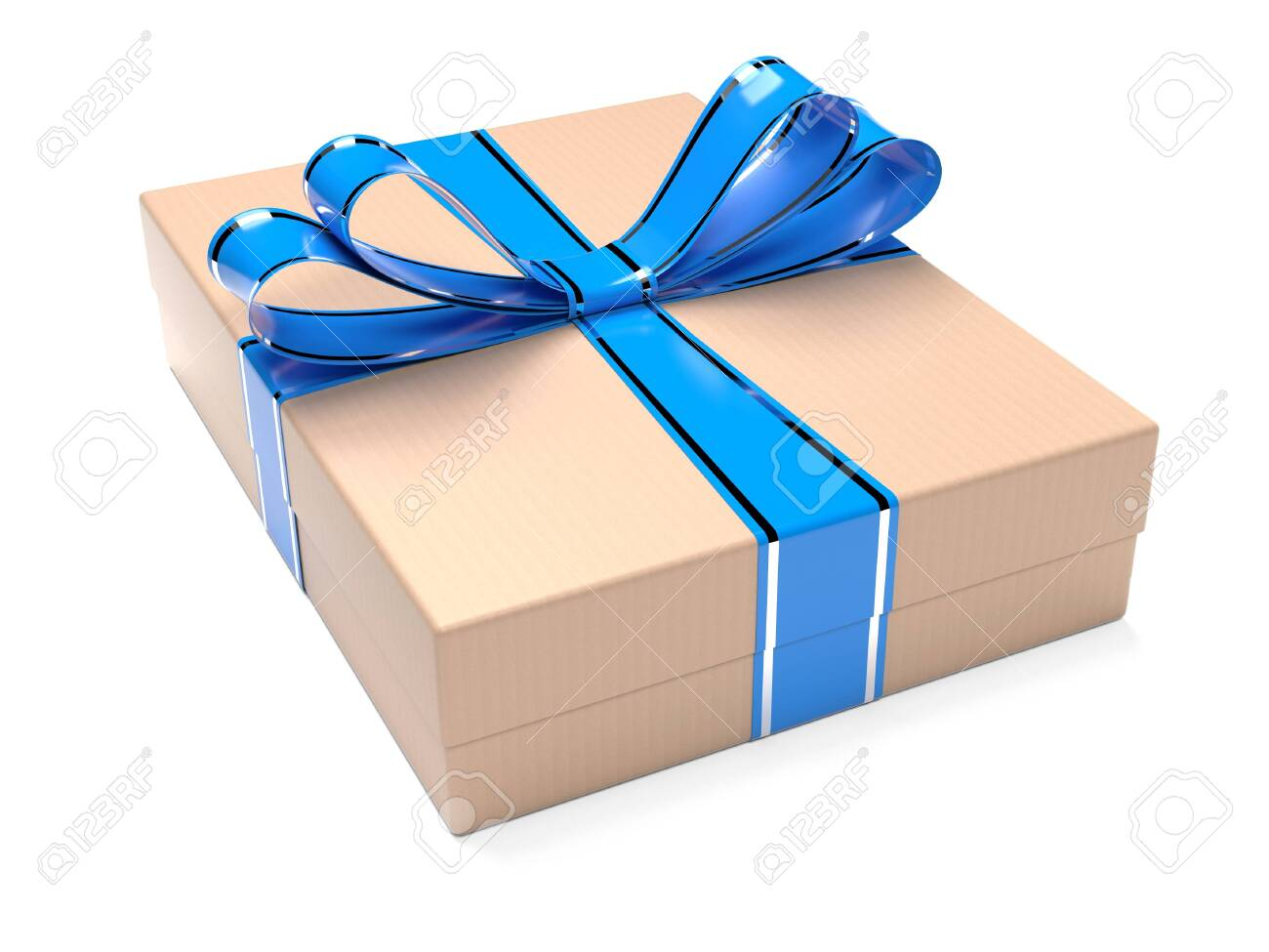 Gift box decorated with blue ribbon. Brown carton. 3d rendering illustration isolated on white background - 150521162