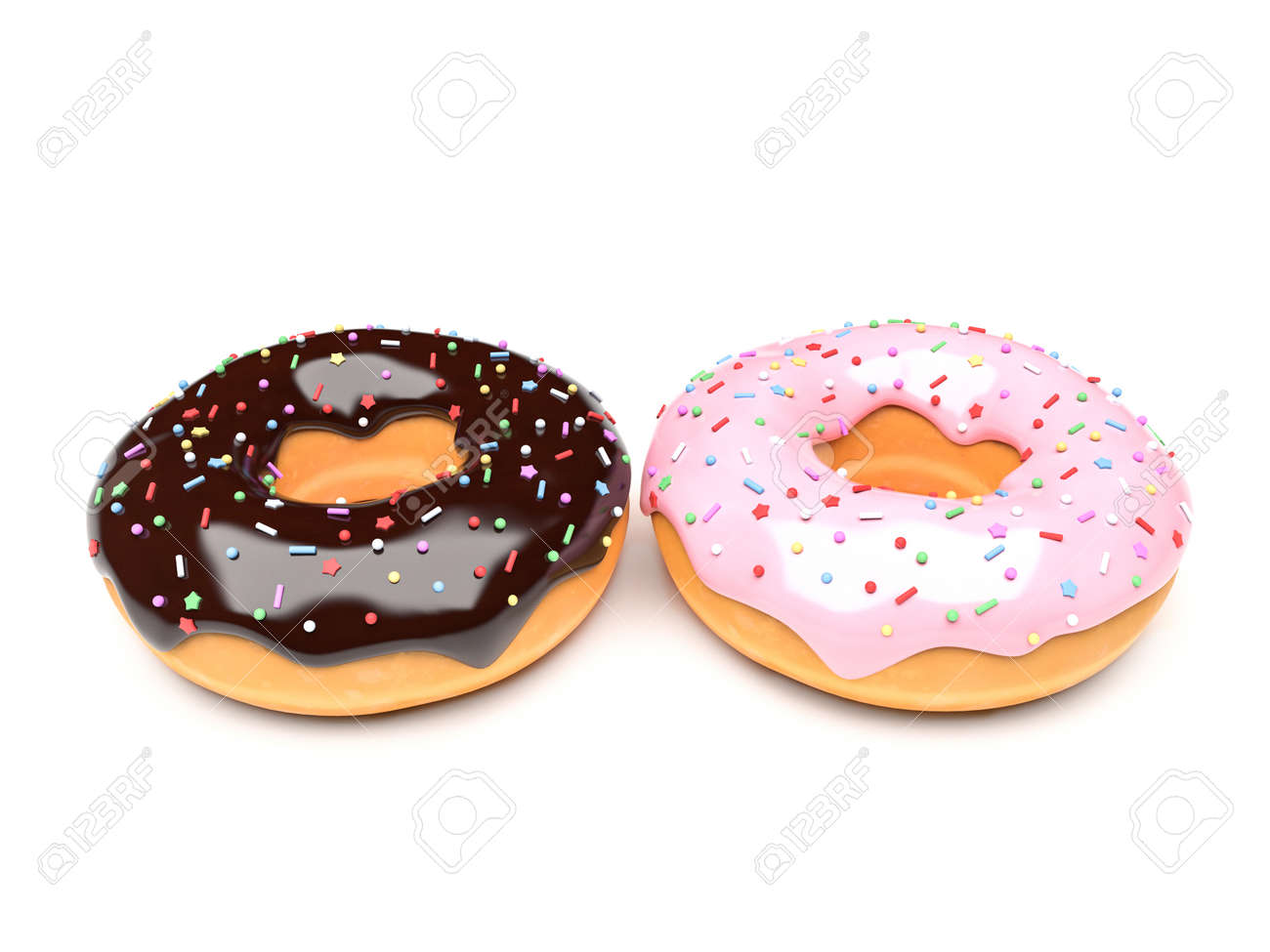 Donuts with chocolate and pink frosting. 3d rendering illustration isolated on white background - 150521311