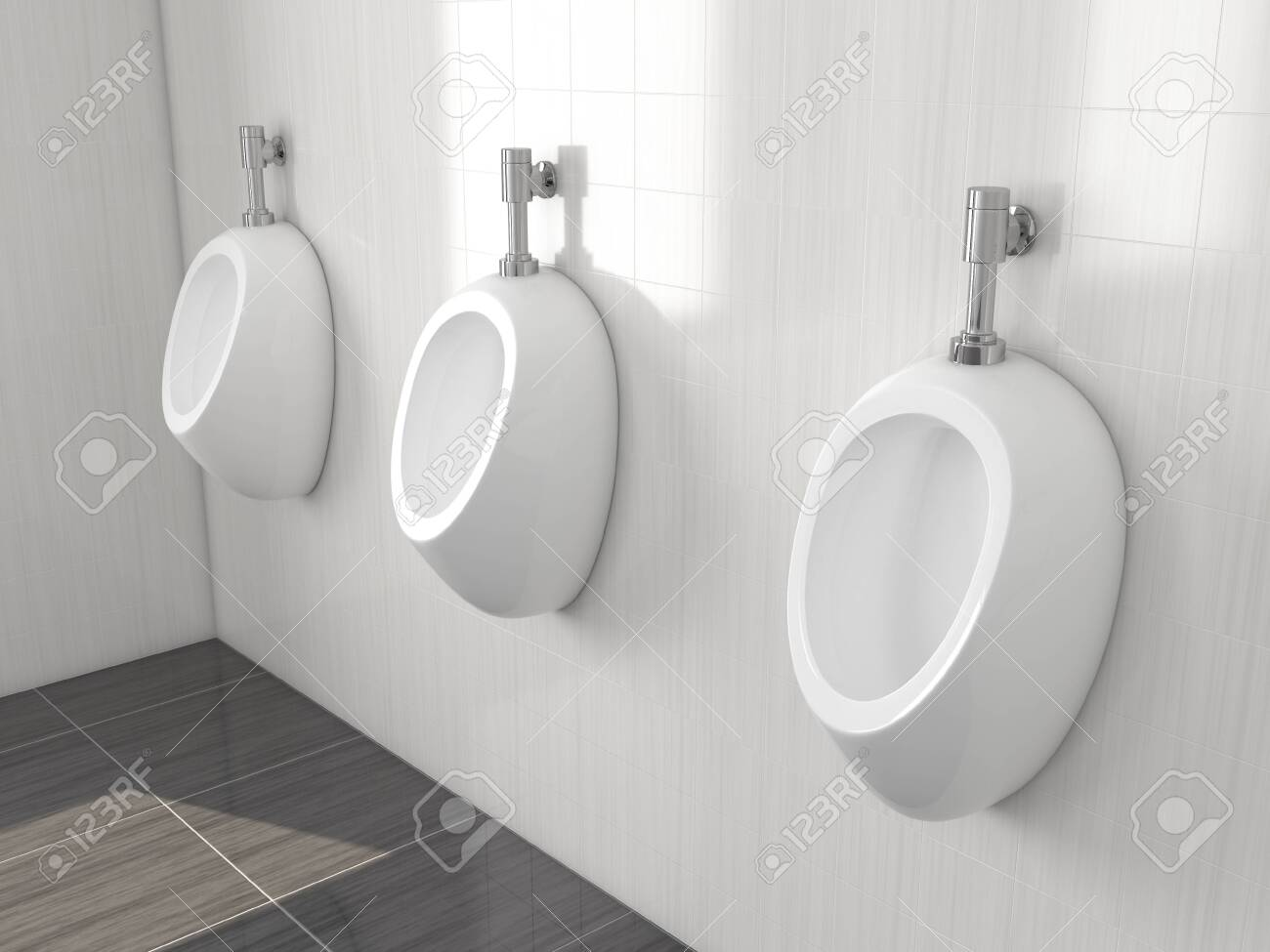 White urinals in men public toilet. Modern ceramic urinals hanging on the tiled wall. 3d rendering illustration. - 150521347