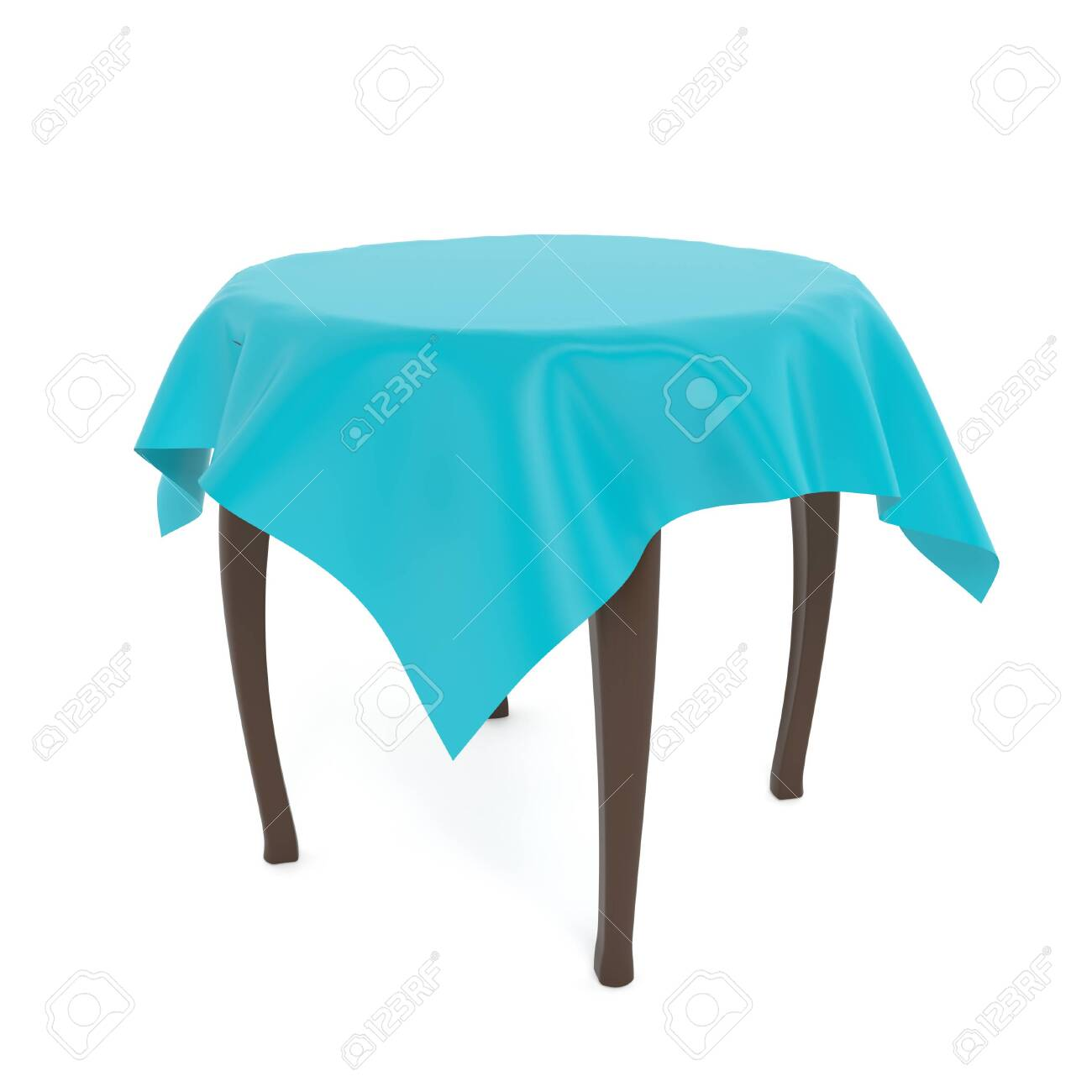 Wooden brown round table with blue tablecloth. 3d rendering illustration isolated on white background. - 150521350
