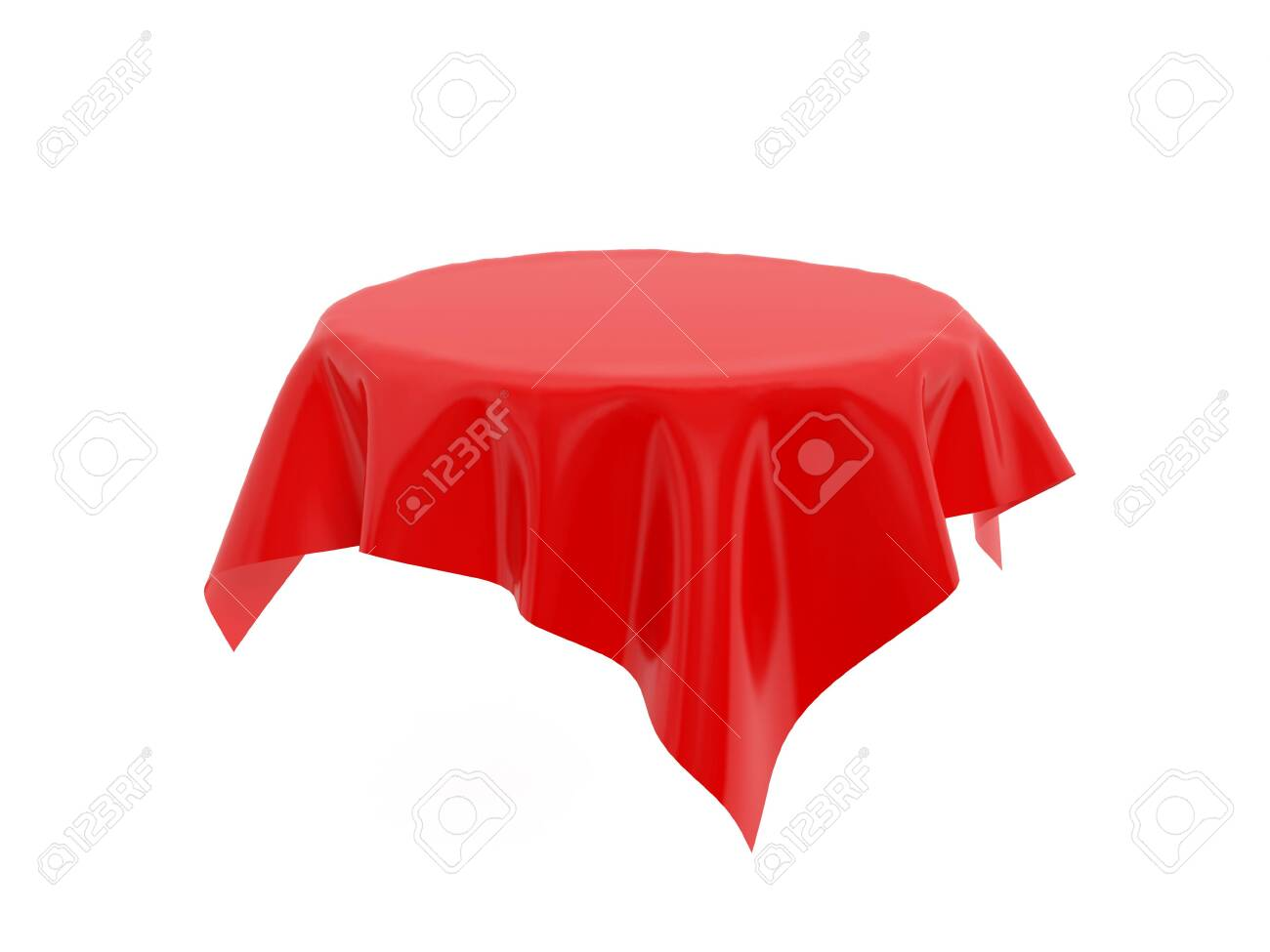 Red tablecloth on invisible round table. 3d rendering illustration isolated on white background - 150521358