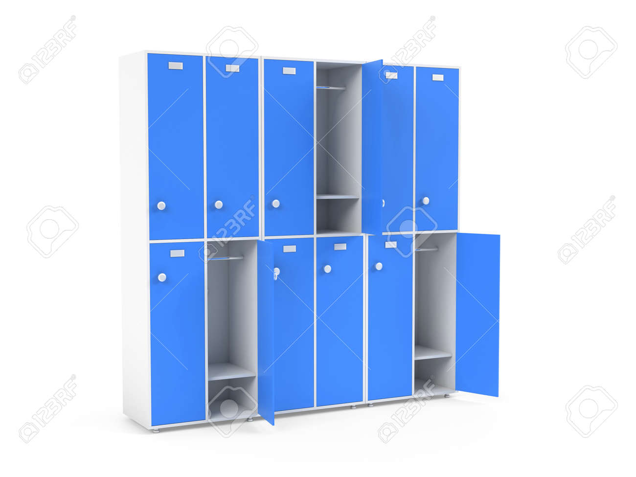 Blue lockers. Two row section of lockers for schoool or gym. 3d rendering illustration isolated on white background - 150521366