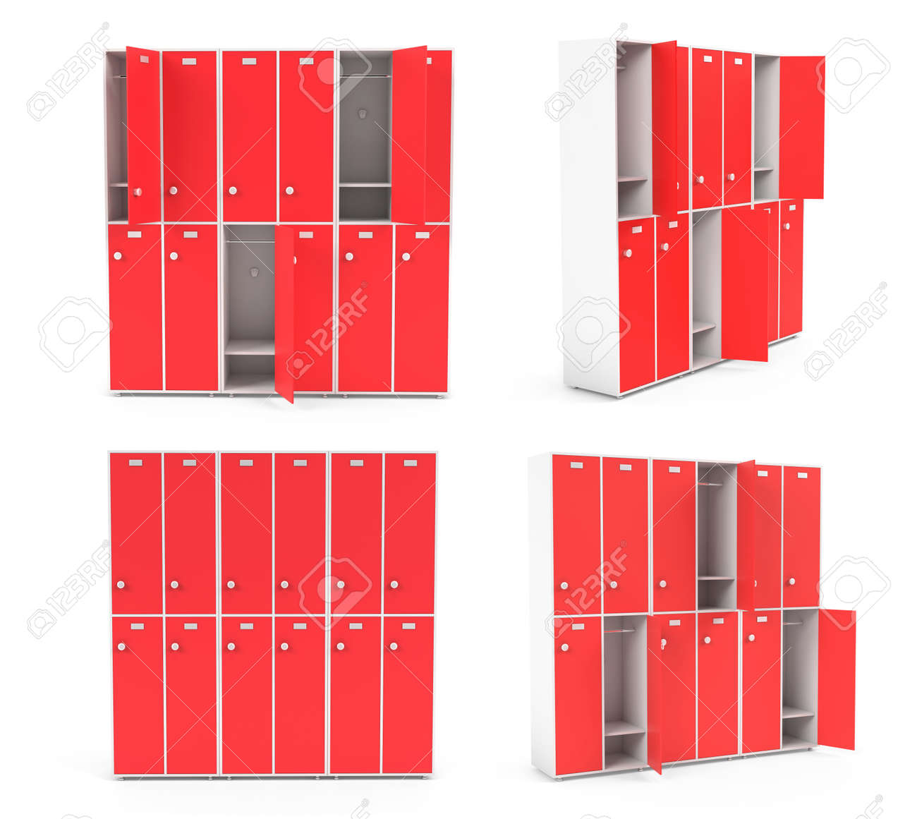 Red lockers for schoool or gym. Set of closed and open sections. 3d rendering illustration isolated on white background - 150521374