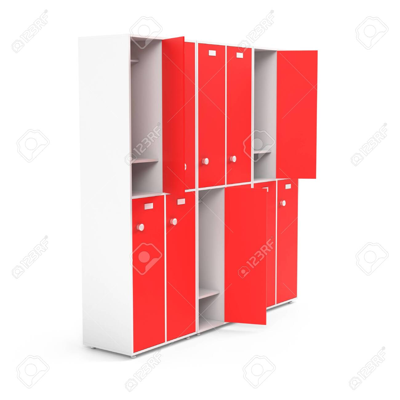 Red lockers. Two row section of lockers for schoool or gym. 3d rendering illustration isolated on white background - 150521387