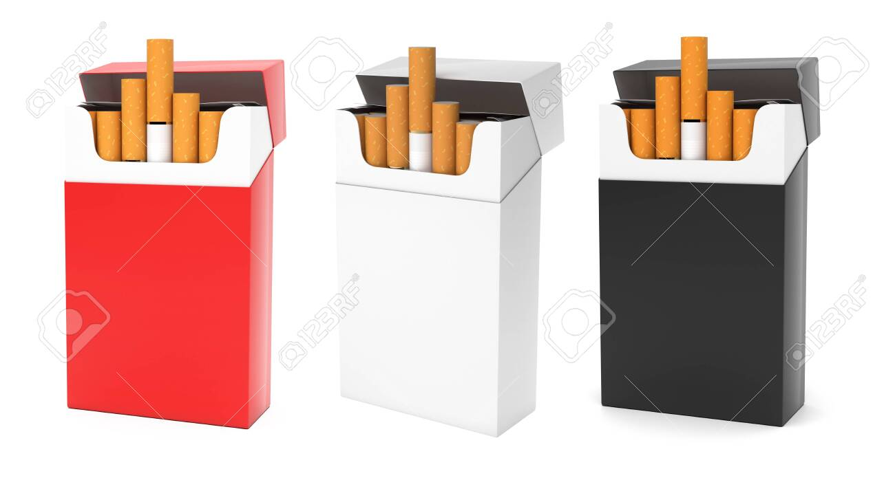 Open packs of cigarettes. Colored set. 3d rendering illustration isolated on white background - 150524351