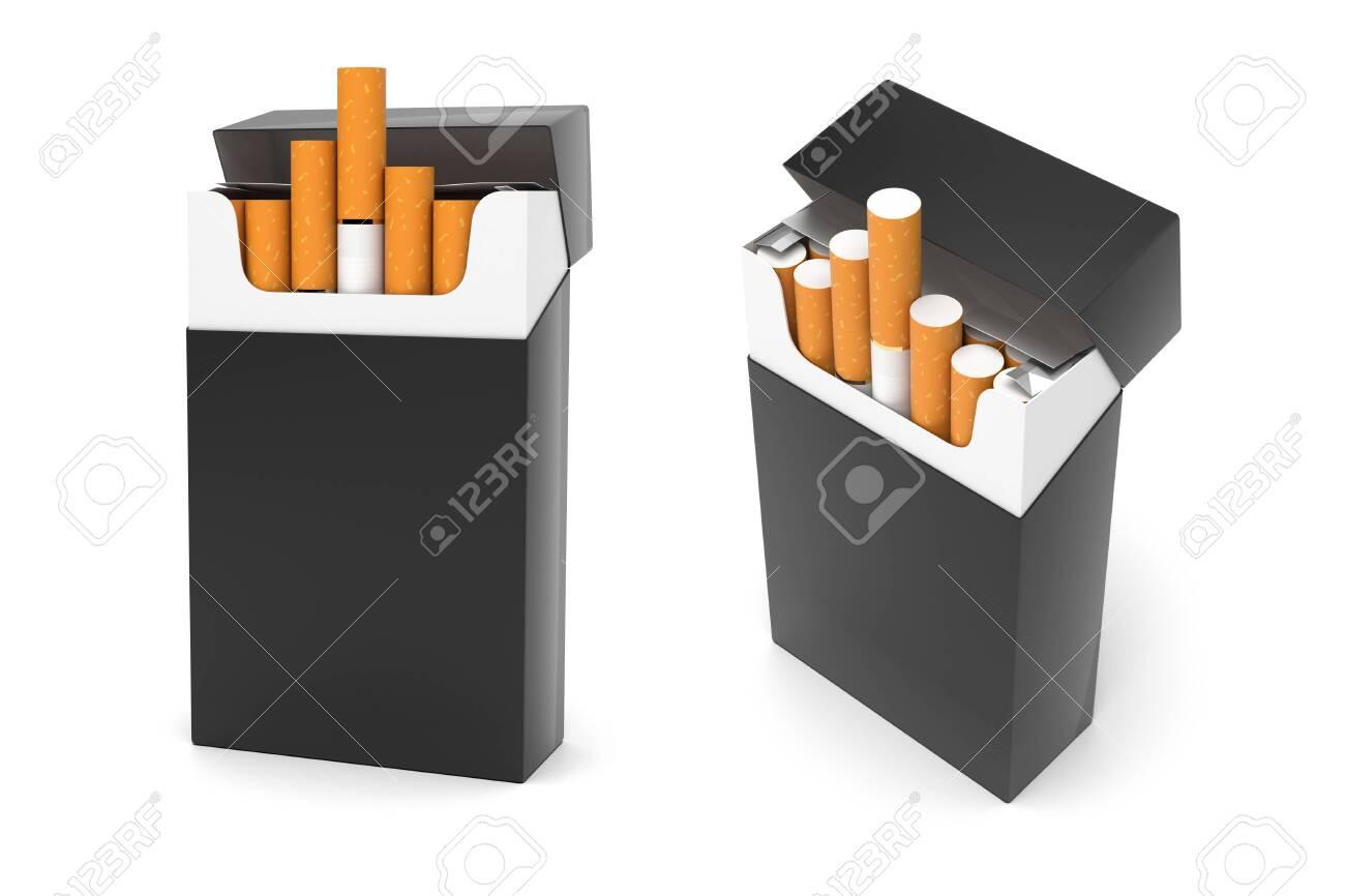 Black packs of cigarettes. 3d rendering illustration isolated on white background - 150524412