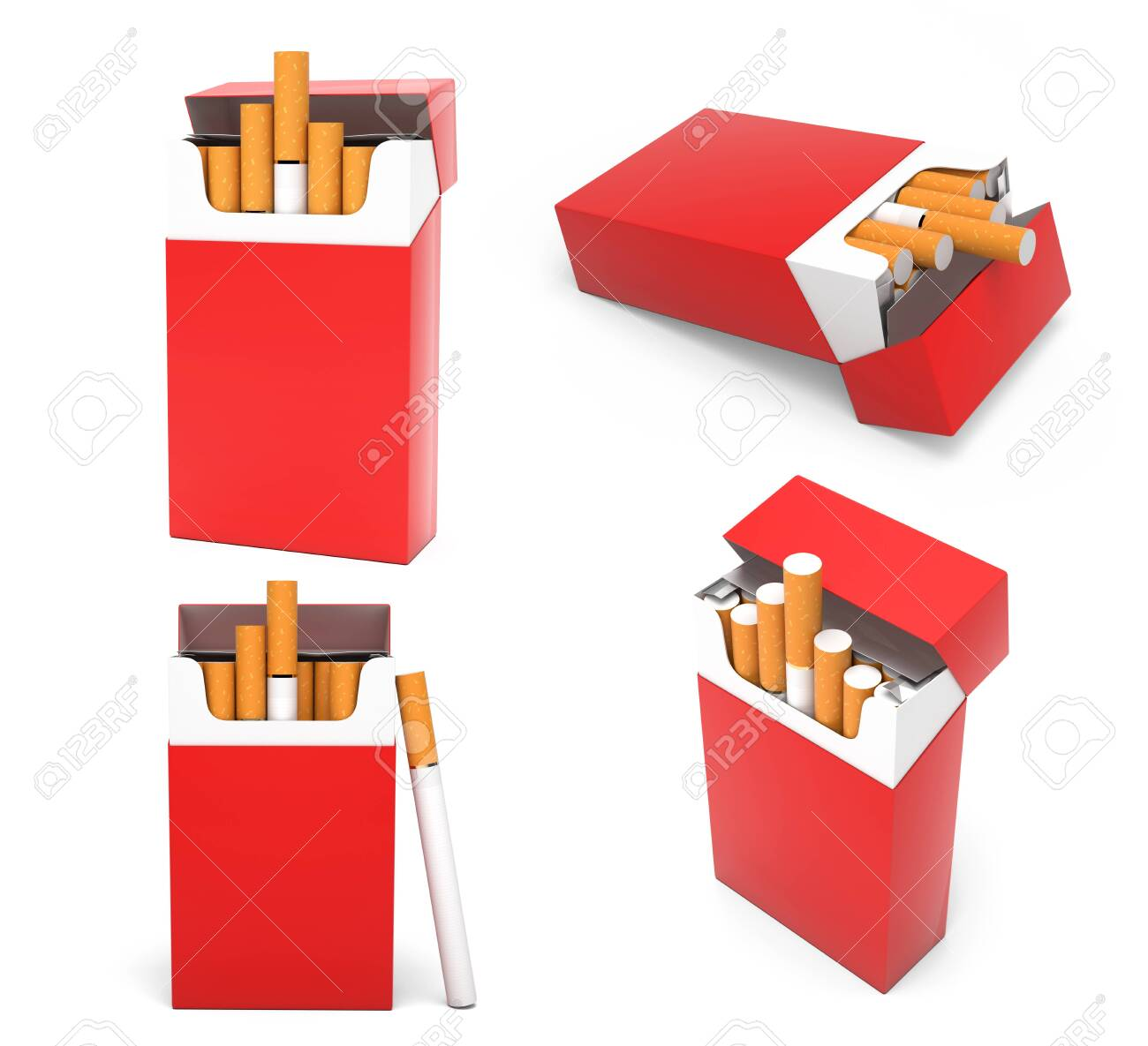 Red blank packs of cigarettes. With brown filter. 3d rendering illustration isolated on white background - 150524582